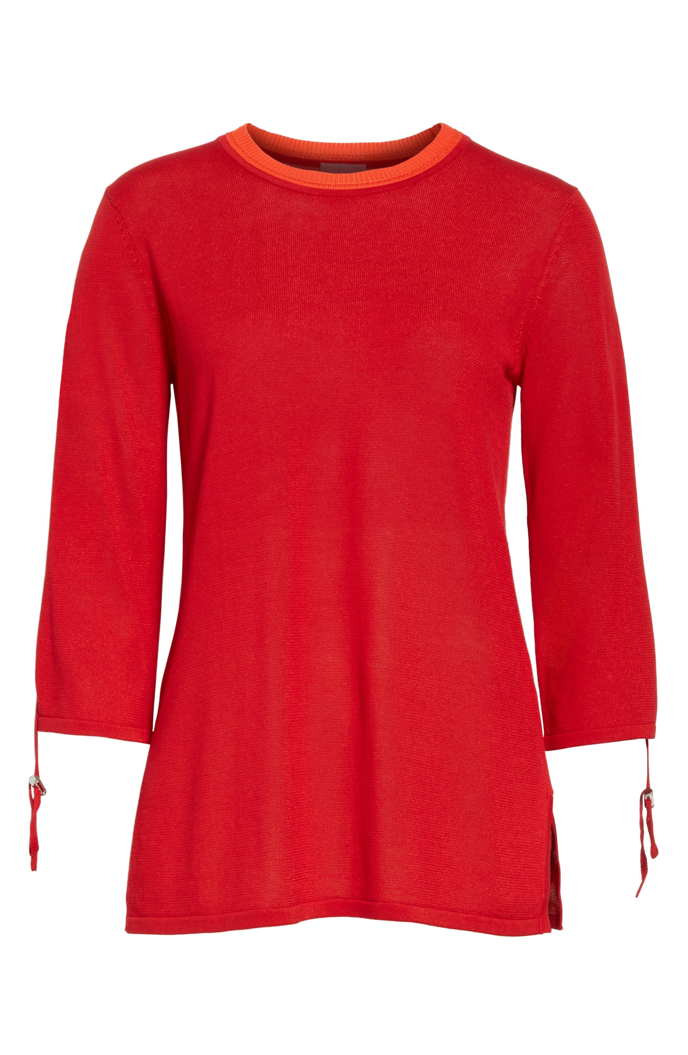Ruched Sleeve Sweater,                             Alternate thumbnail 7, color,                             Cherry