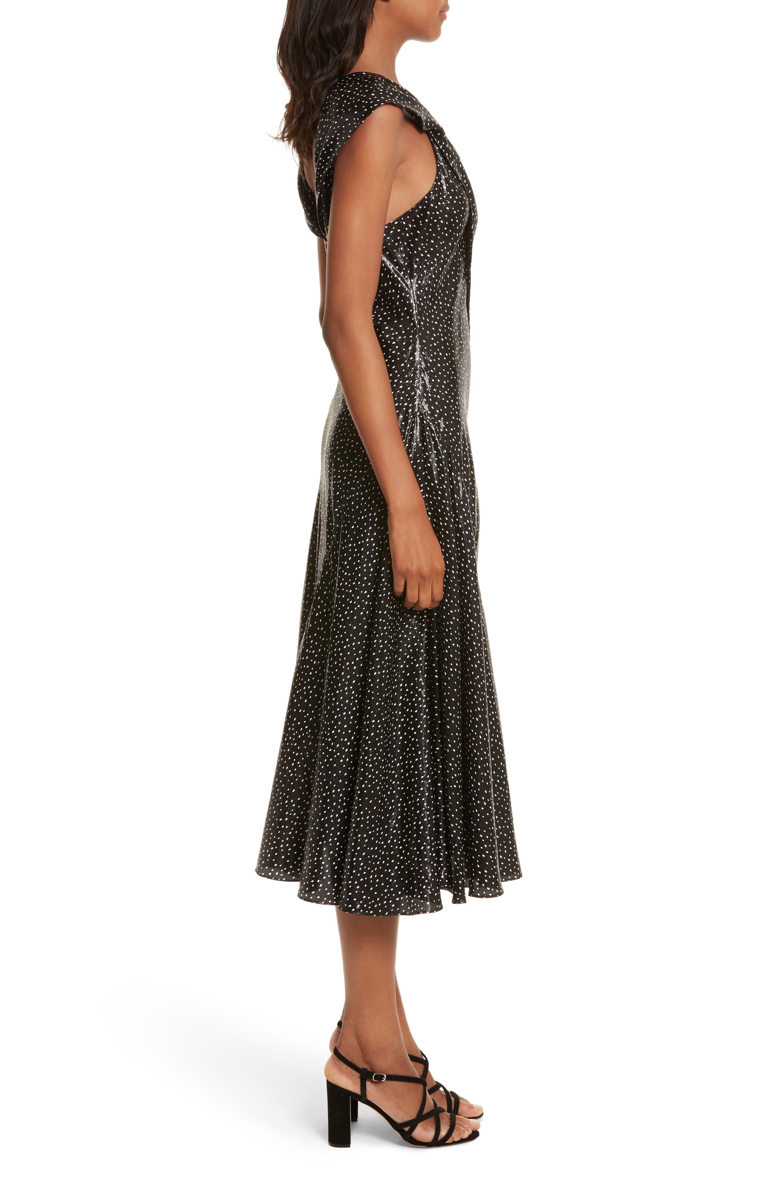 Metallic Dot Midi Dress,                             Alternate thumbnail 3, color,                             Irvine Dot Black