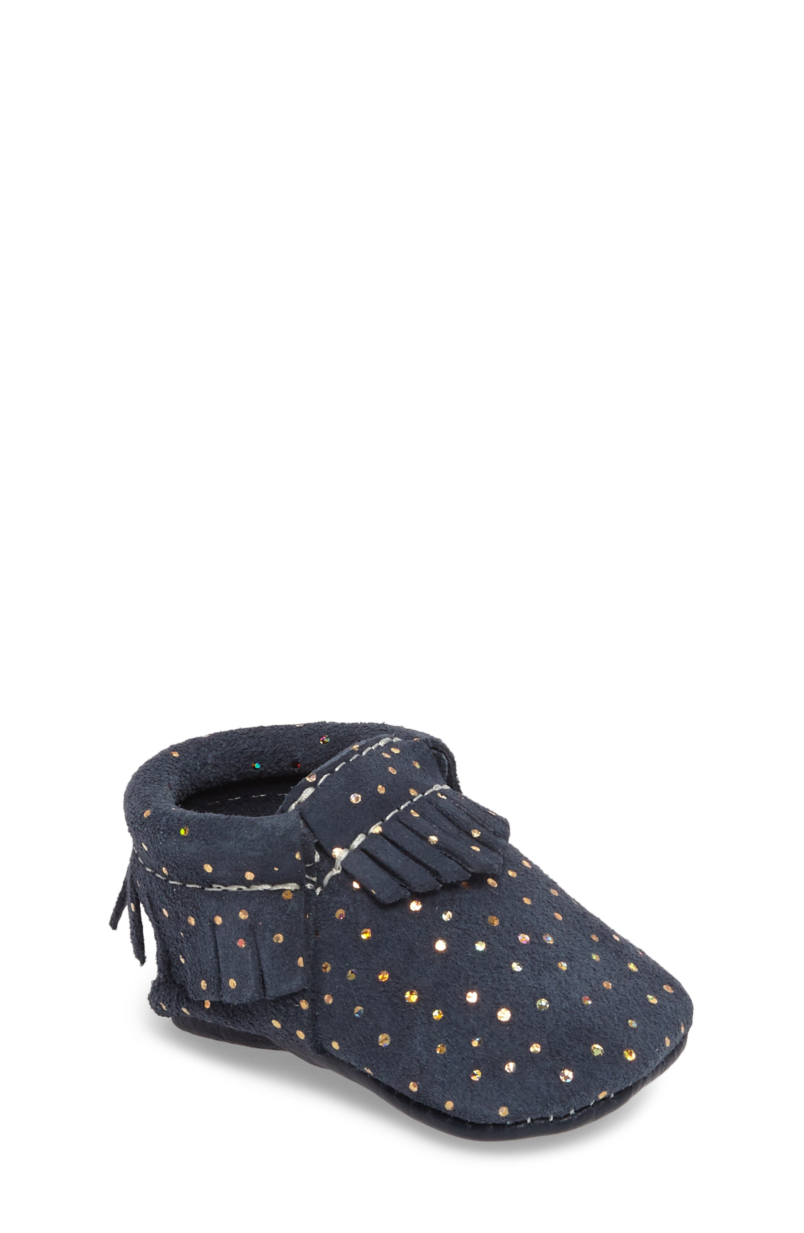 Freshly Picked Confetti Print Moccasin (Baby)