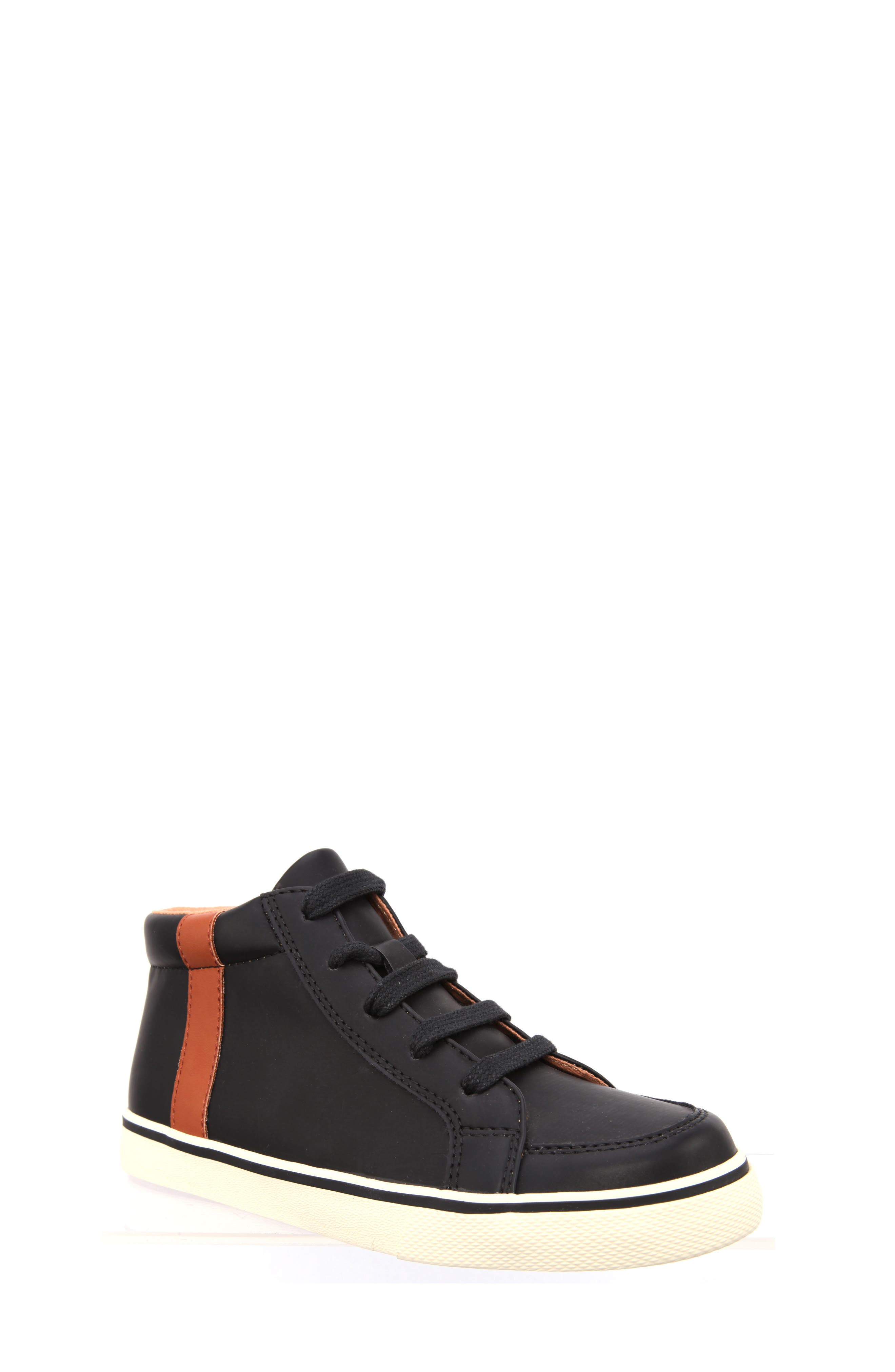 Miguel Stripe Mid Top Sneaker,                         Main,                         color, Black Smooth Matte