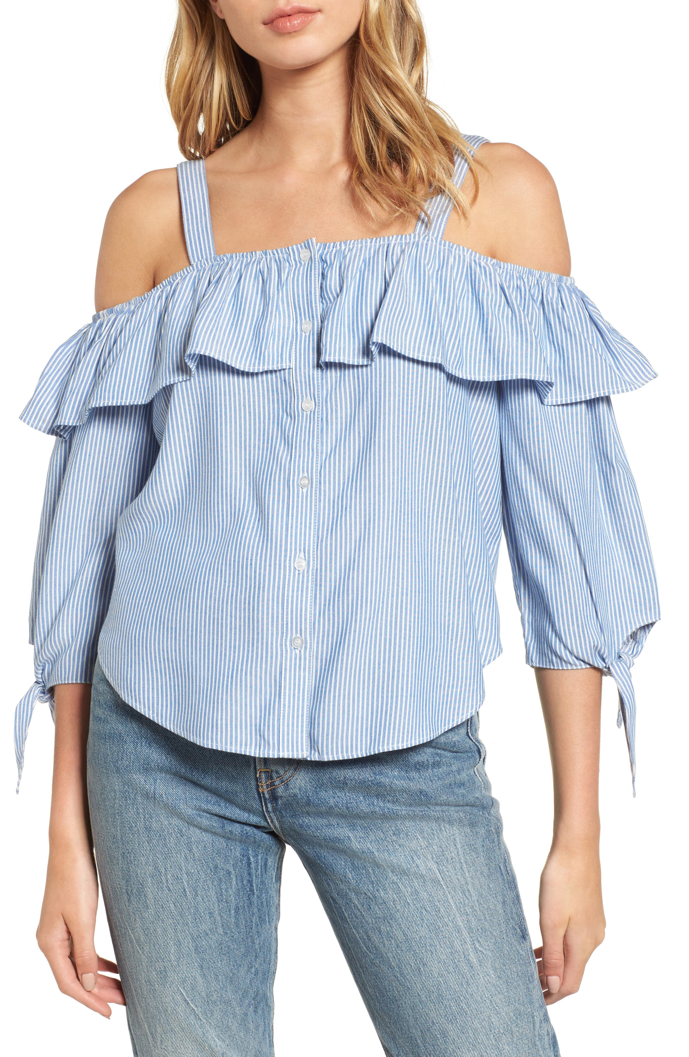 Love, Fire Ruffle Off the Shoulder Blouse