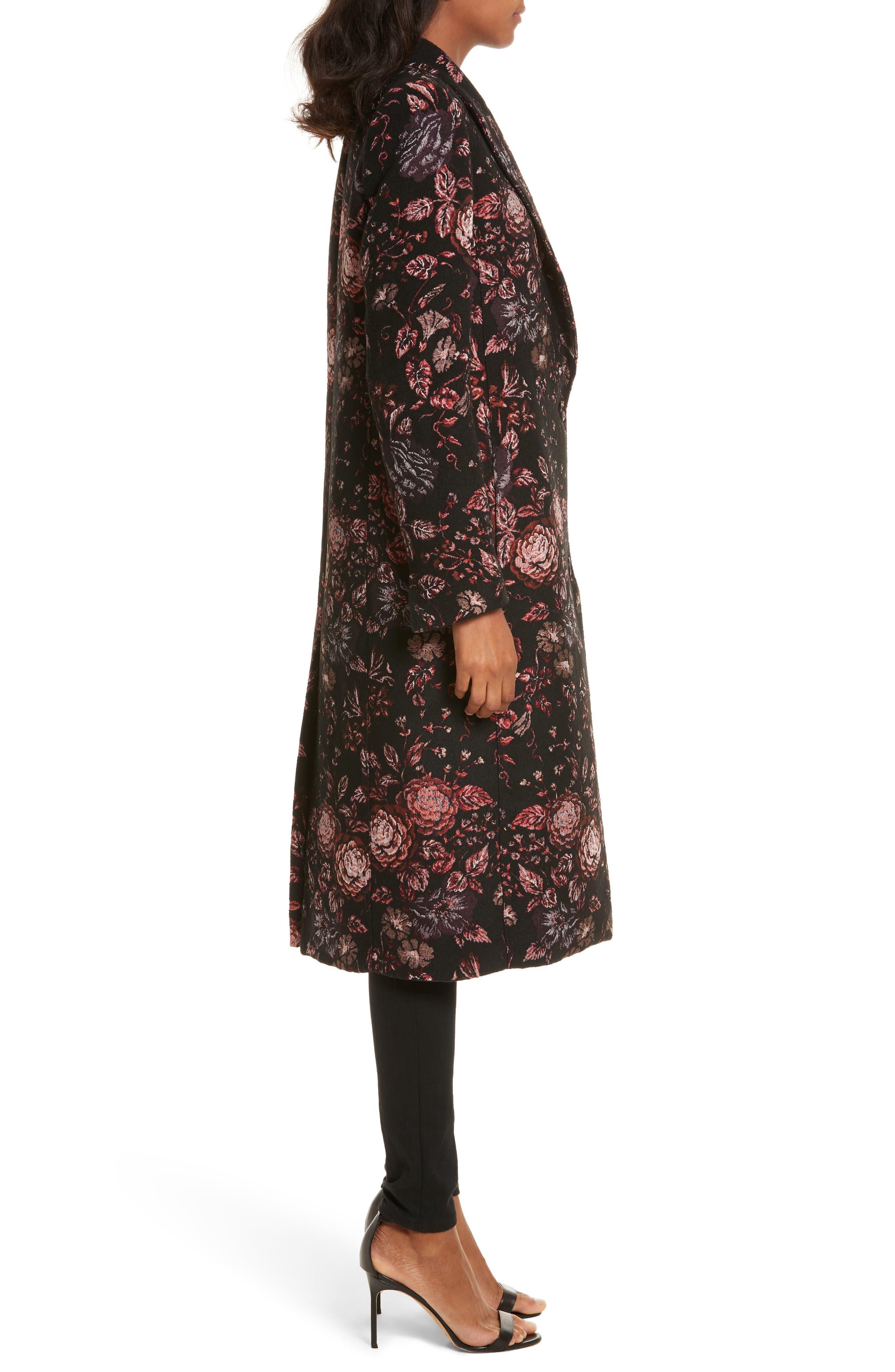 Floral Jacquard Peaked Lapel Coat,                             Alternate thumbnail 3, color,                             Tapestry