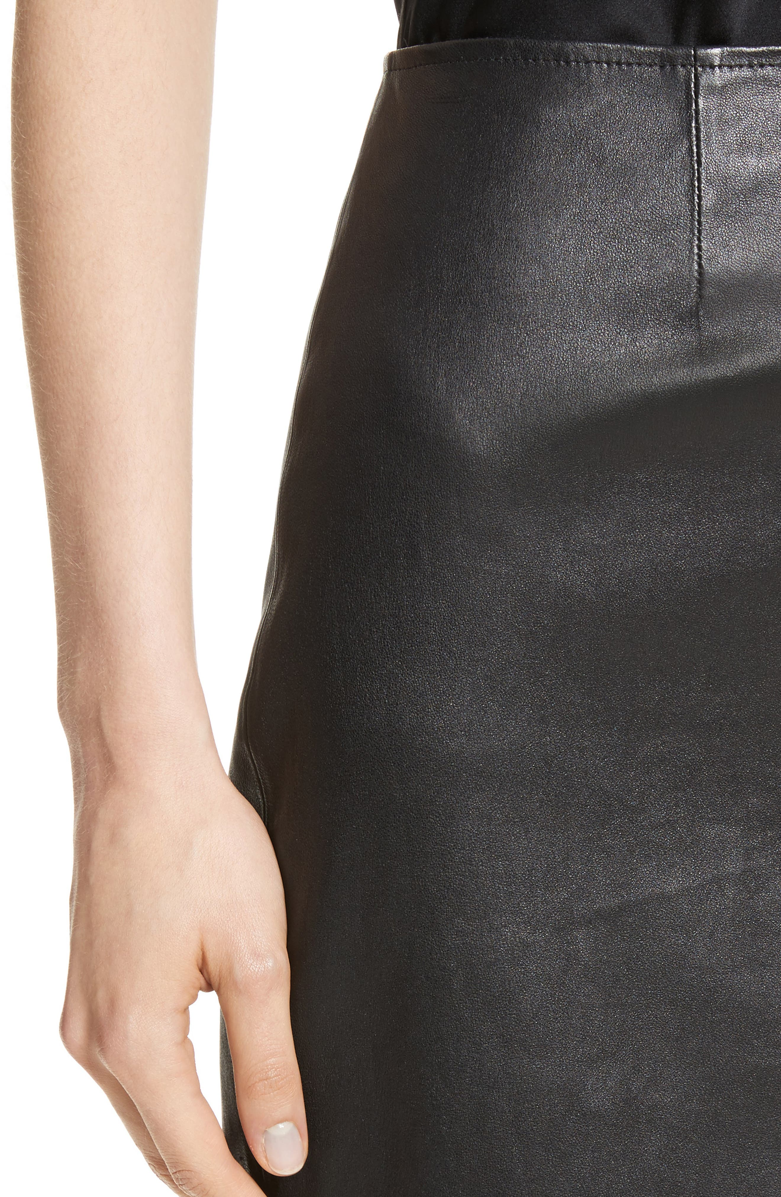 Stretch Nappa Leather Skirt,                             Alternate thumbnail 4, color,                             Caviar