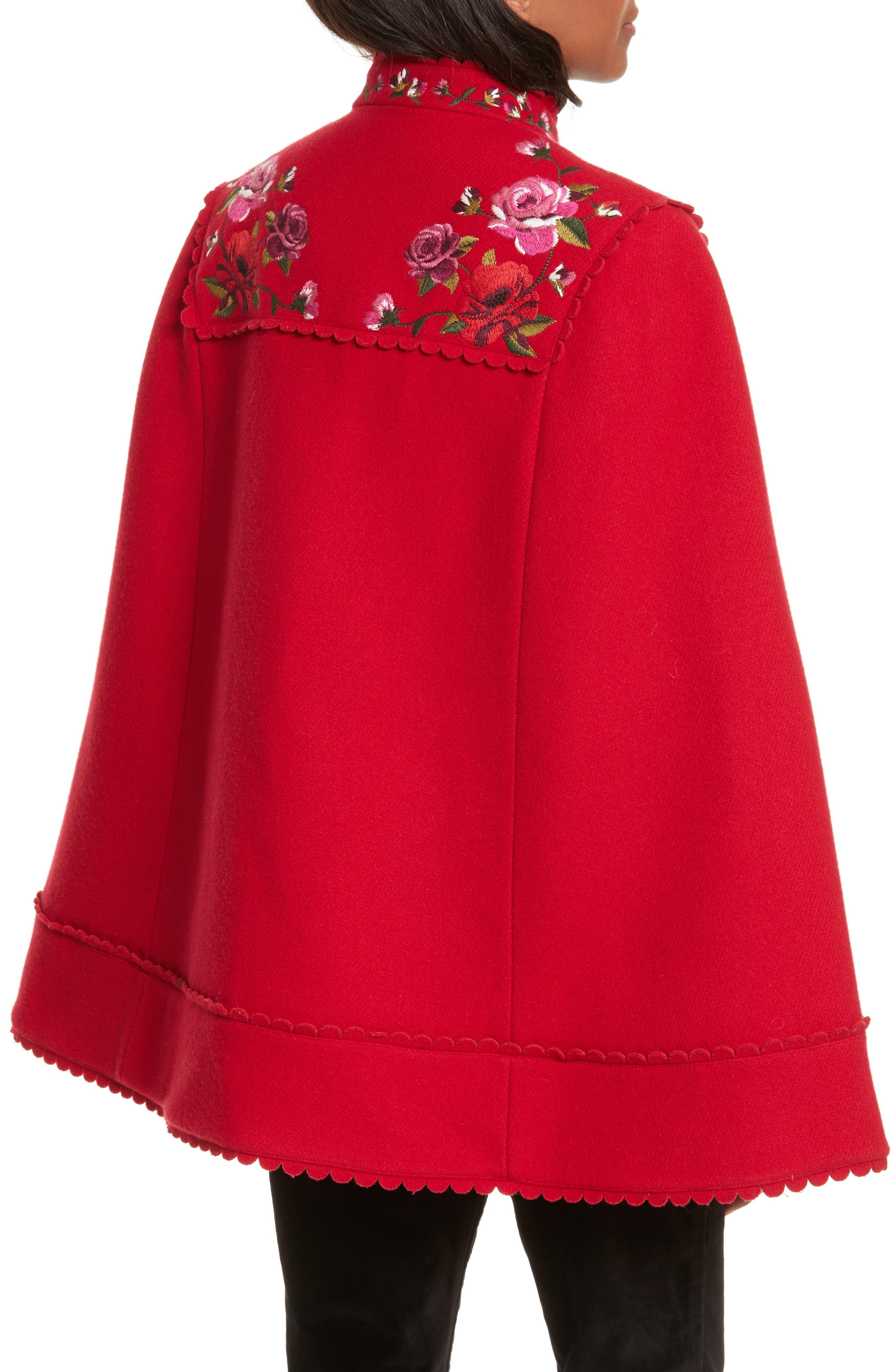 mari wool blend cape,                             Alternate thumbnail 2, color,                             Charm Red