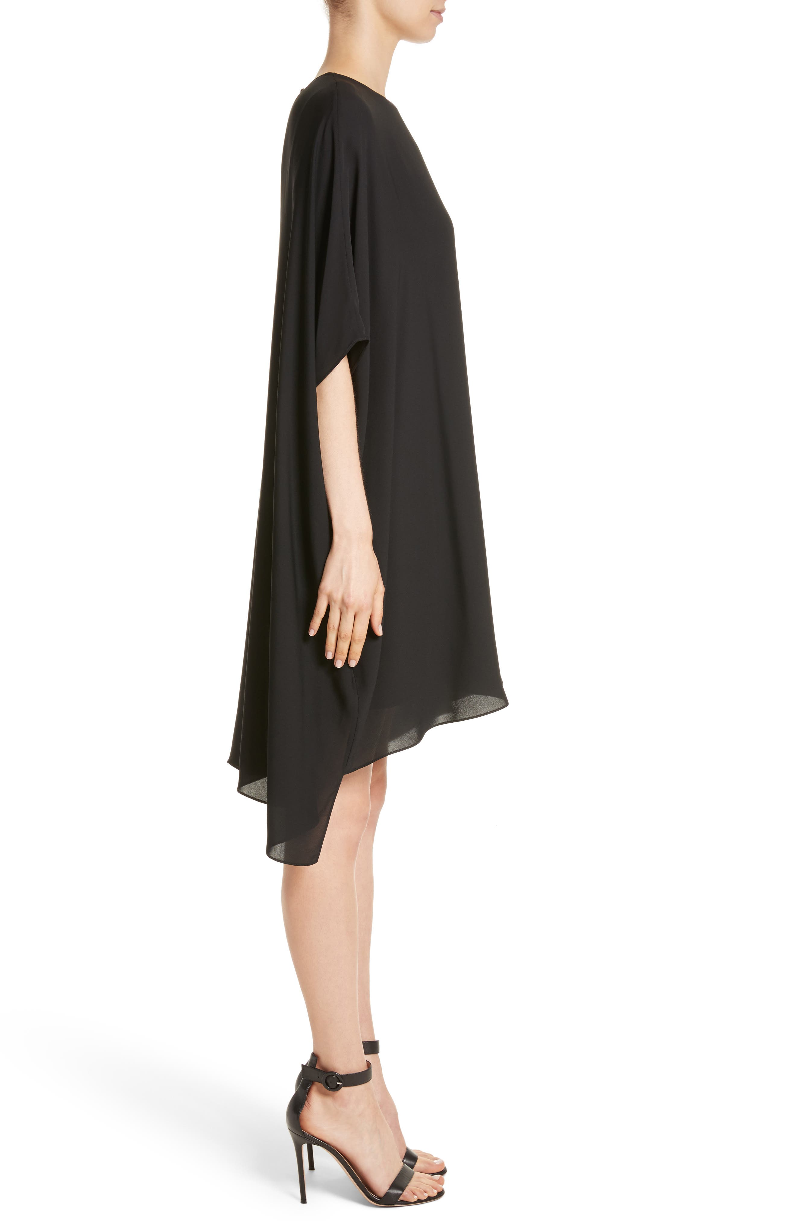 Double Silk Georgette Draped Dress,                             Alternate thumbnail 3, color,                             Caviar