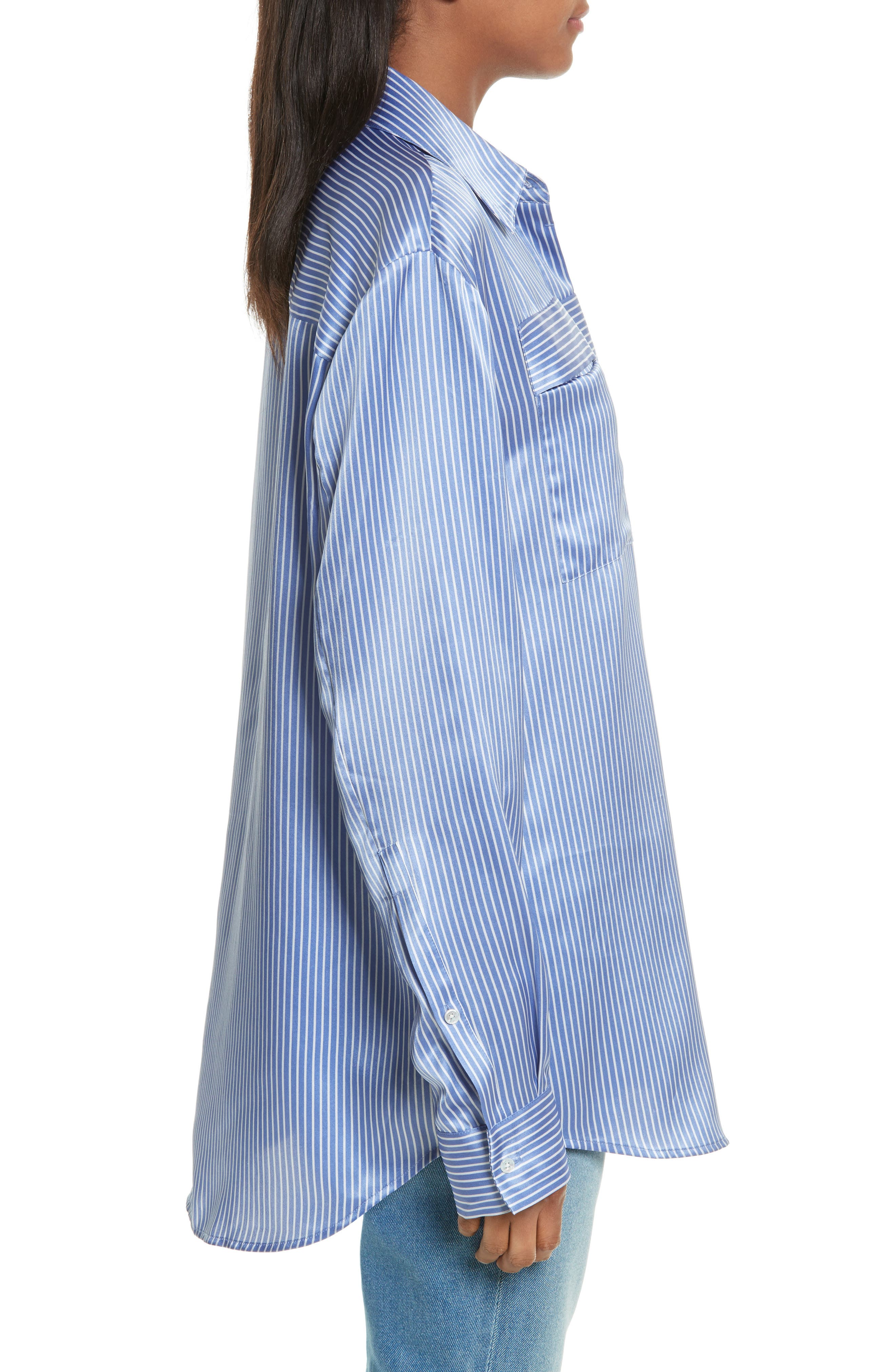 Silk Satin Blouse,                             Alternate thumbnail 3, color,                             Washed Whale With White Stripe