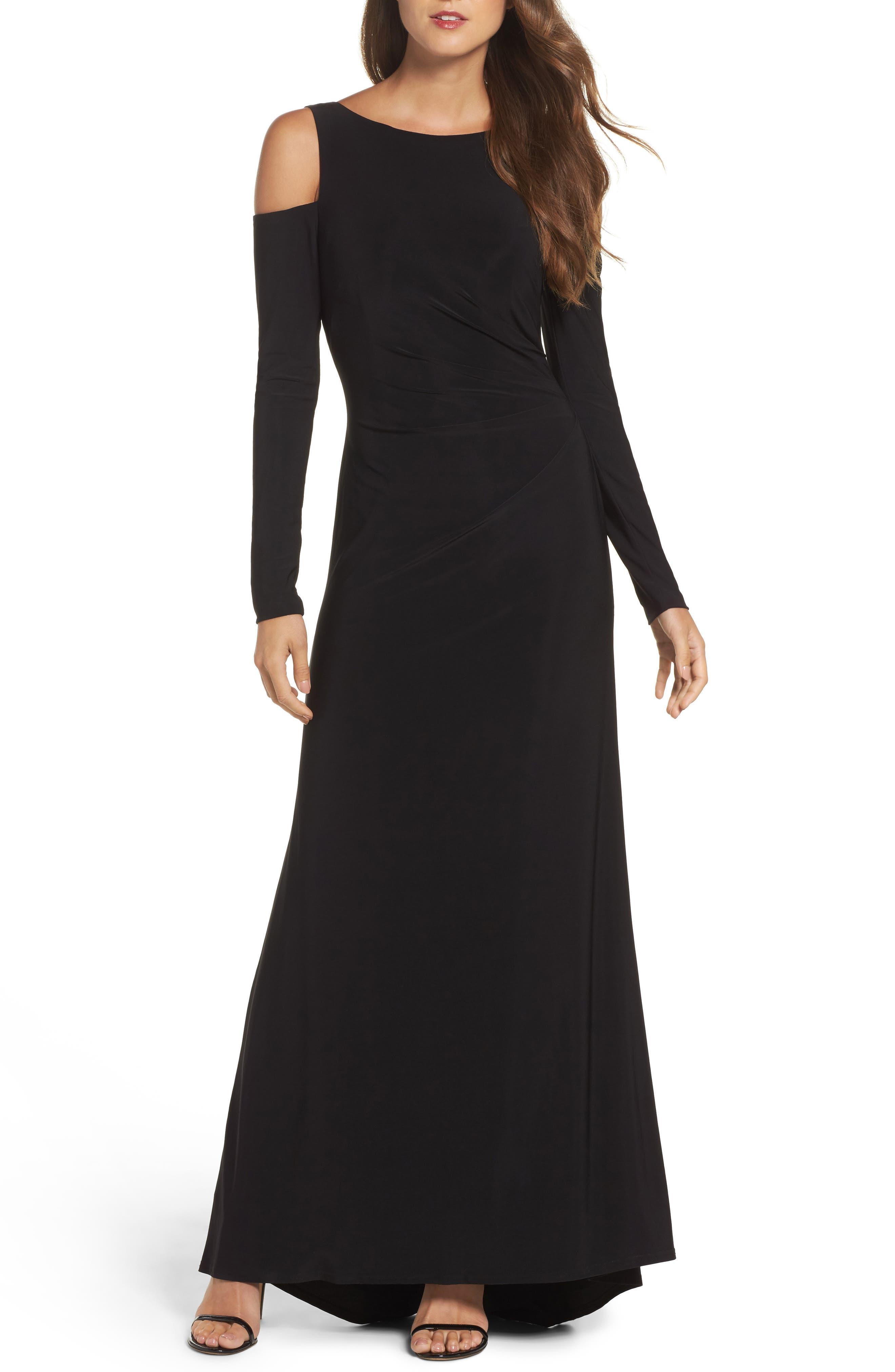 Cold Shoulder A-Line Gown,                             Main thumbnail 1, color,                             Black