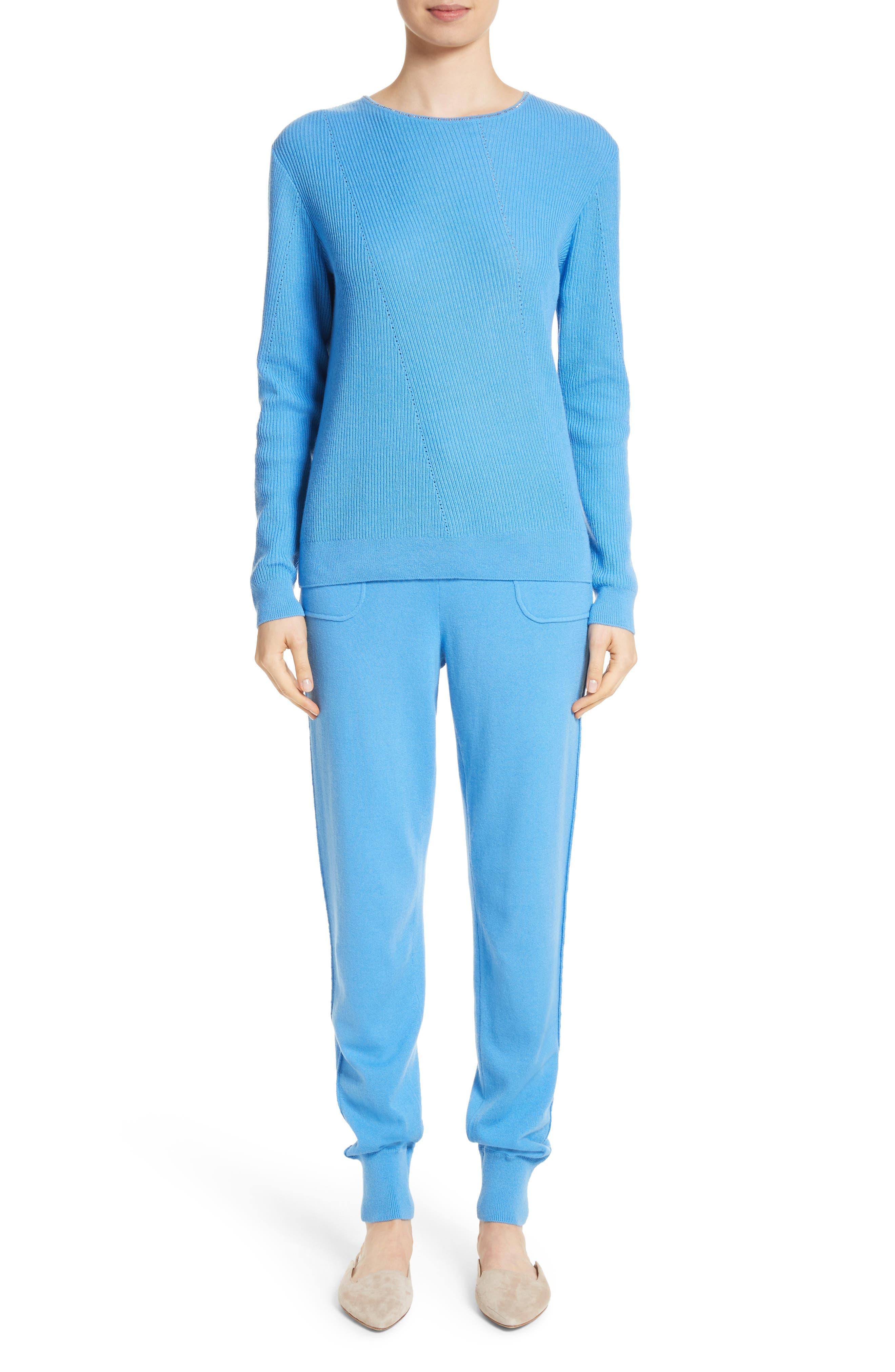 Cashmere Jersey Pants,                             Alternate thumbnail 7, color,                             Bright Niagara