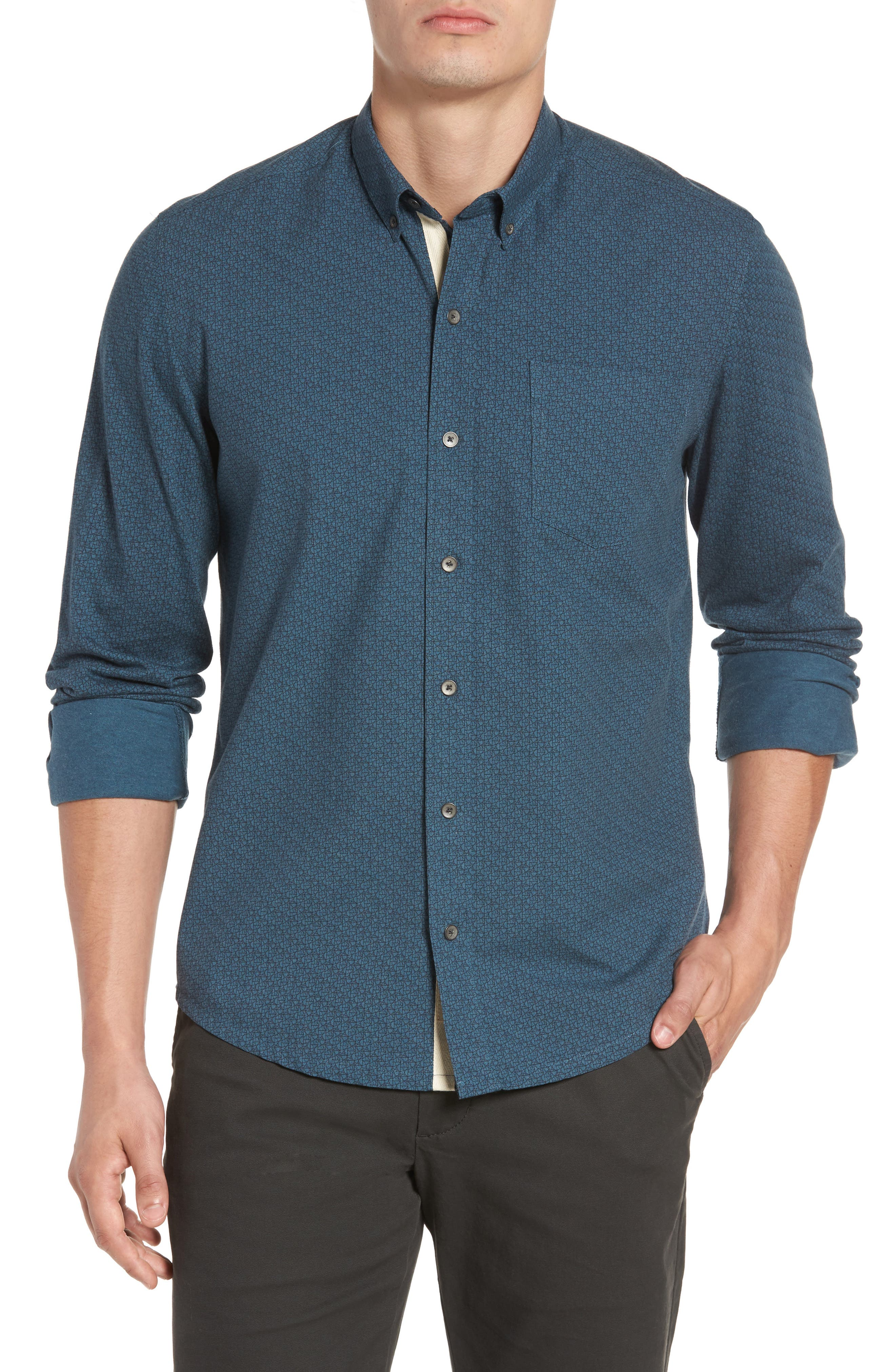 Reworked Cracked Ice Sport Shirt,                             Main thumbnail 1, color,                             Teal