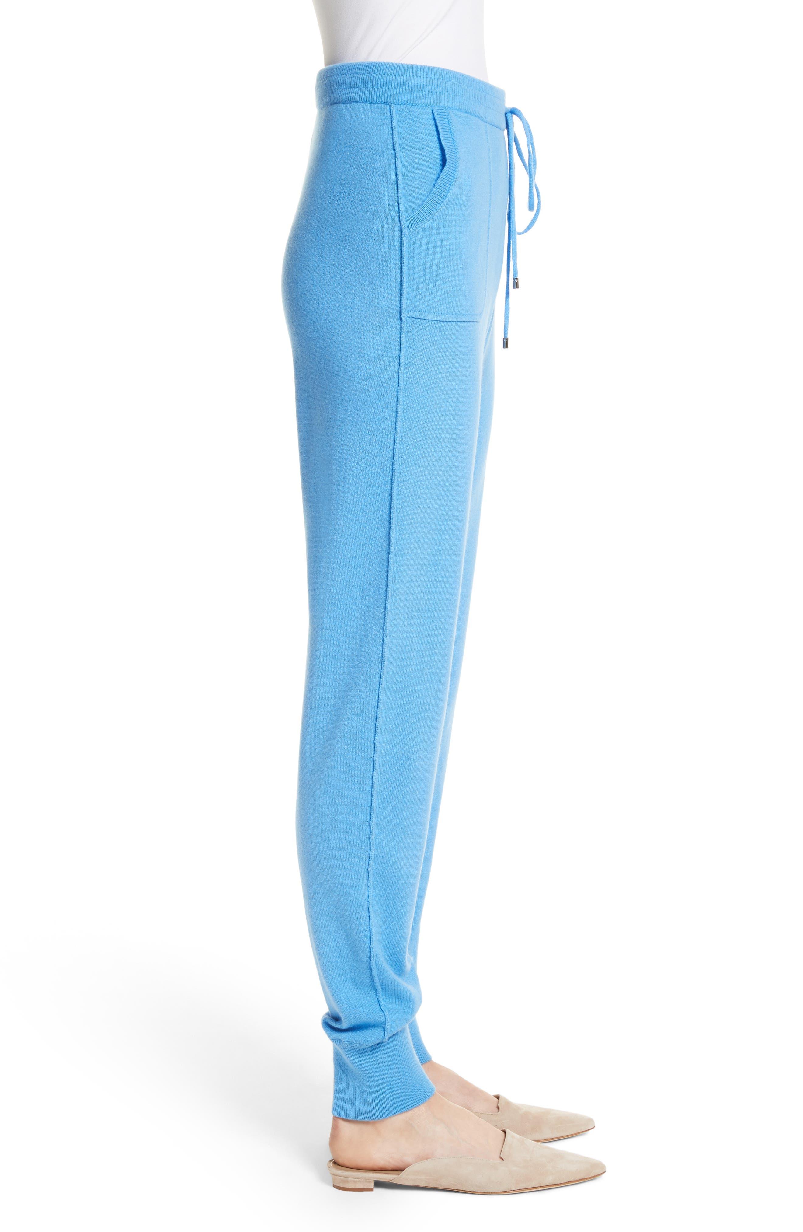 Cashmere Jersey Pants,                             Alternate thumbnail 3, color,                             Bright Niagara