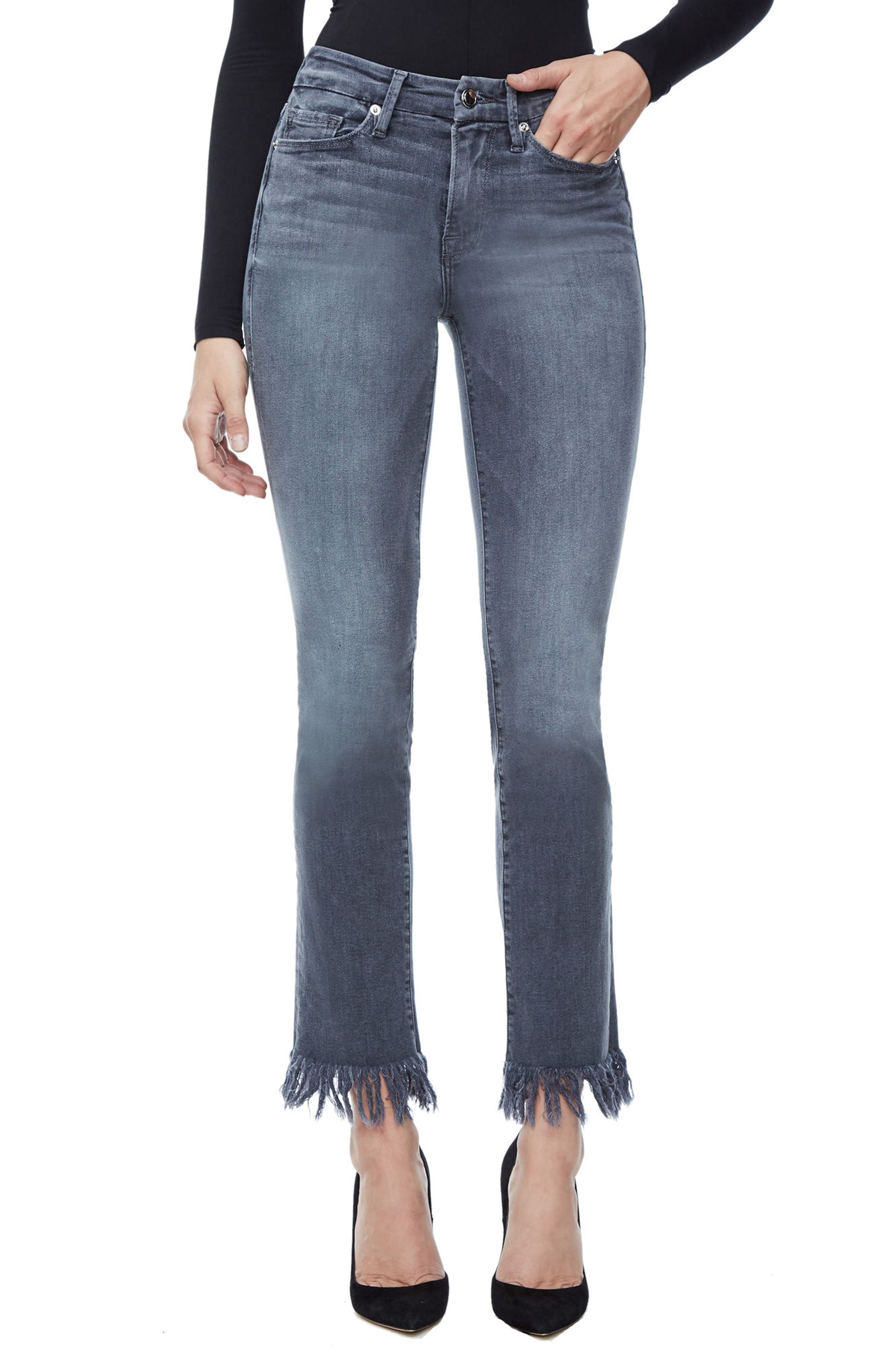 Good American Good Straight Crop Straight Leg Jeans (Grey 001) (Extended Sizes)
