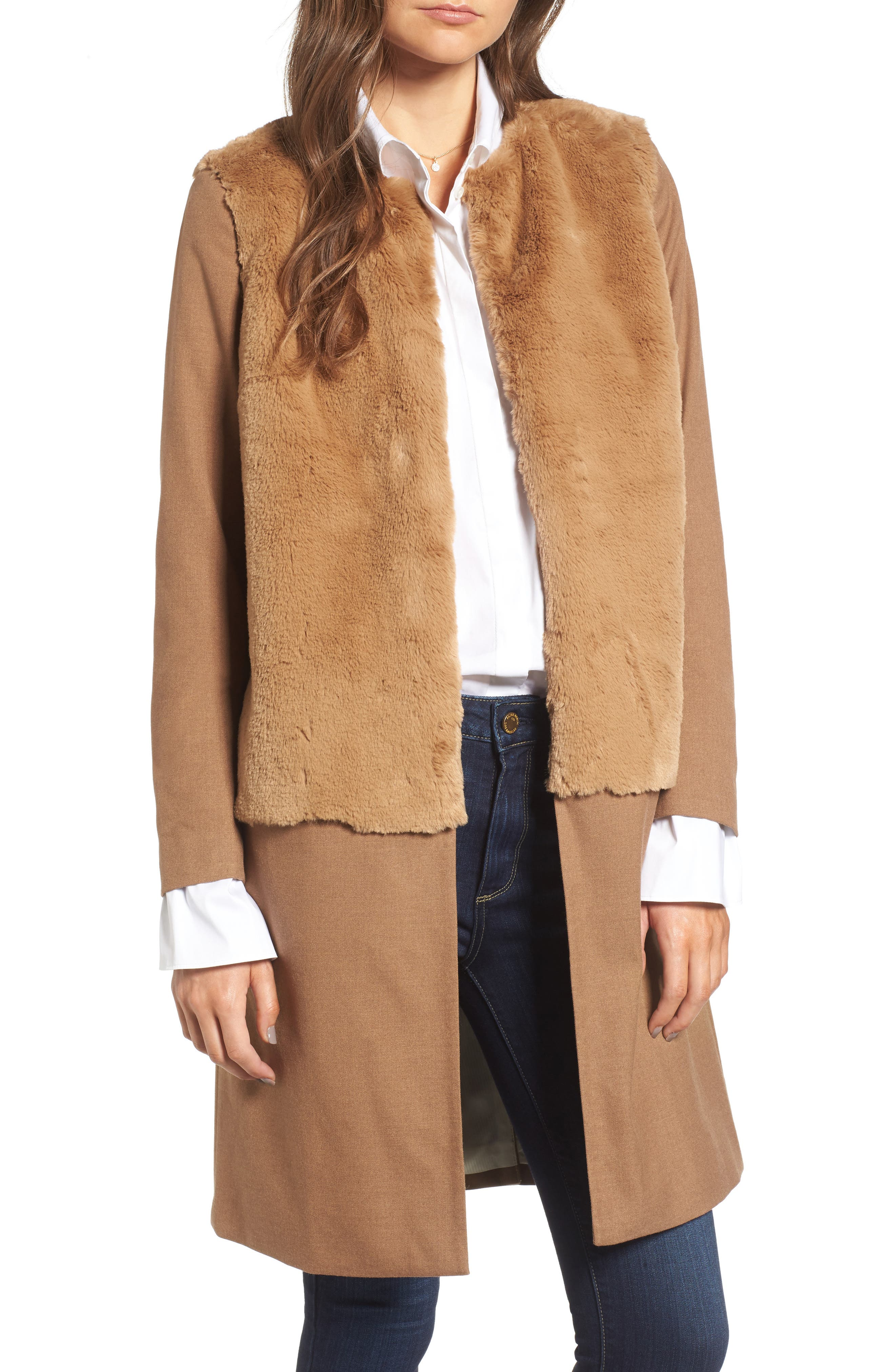 x Something Navy Faux Fur Topped Coat,                         Main,                         color, Brown Bear