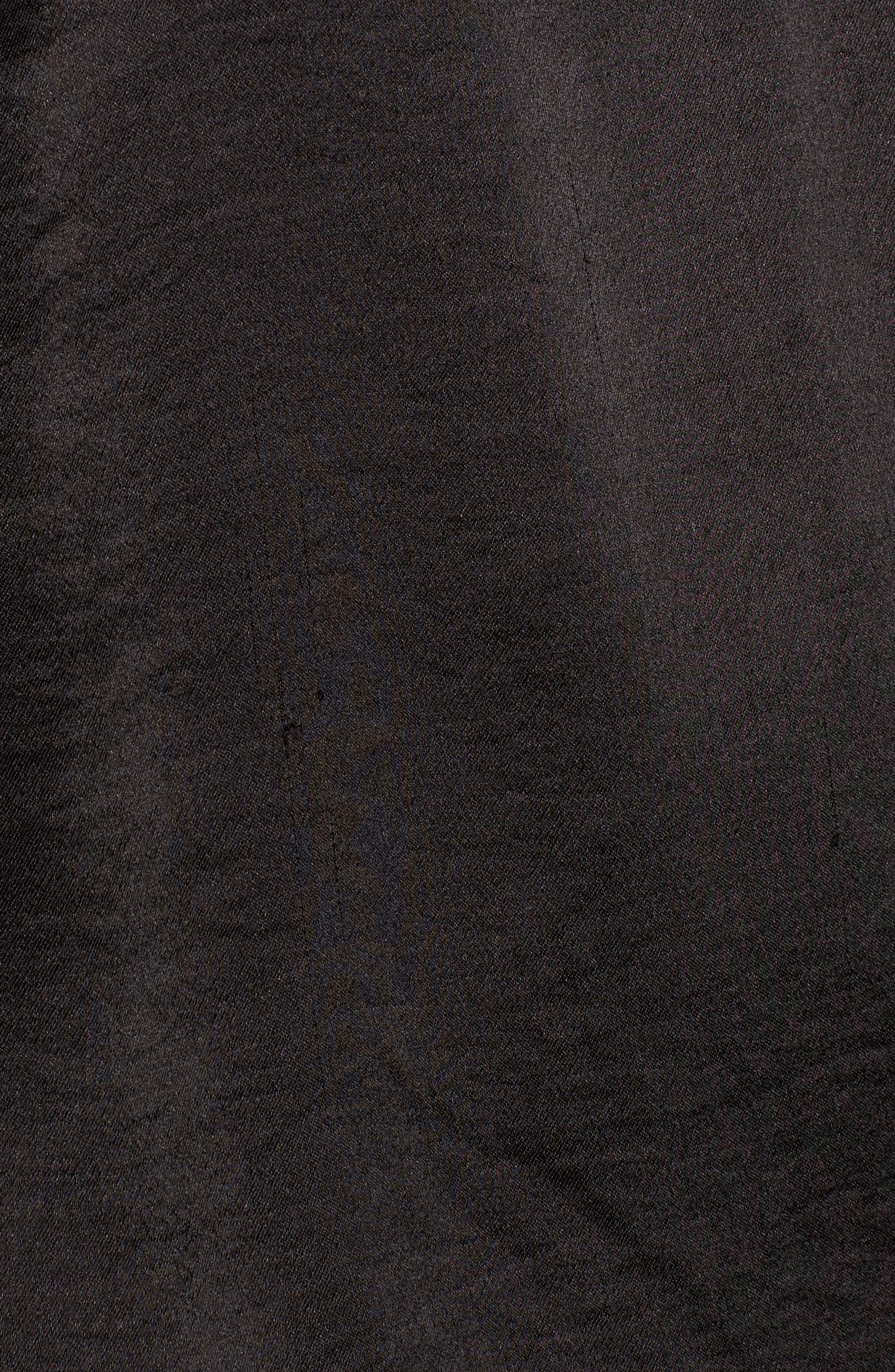 x Something Navy Ruffle Satin Blouse,                             Alternate thumbnail 5, color,                             Black