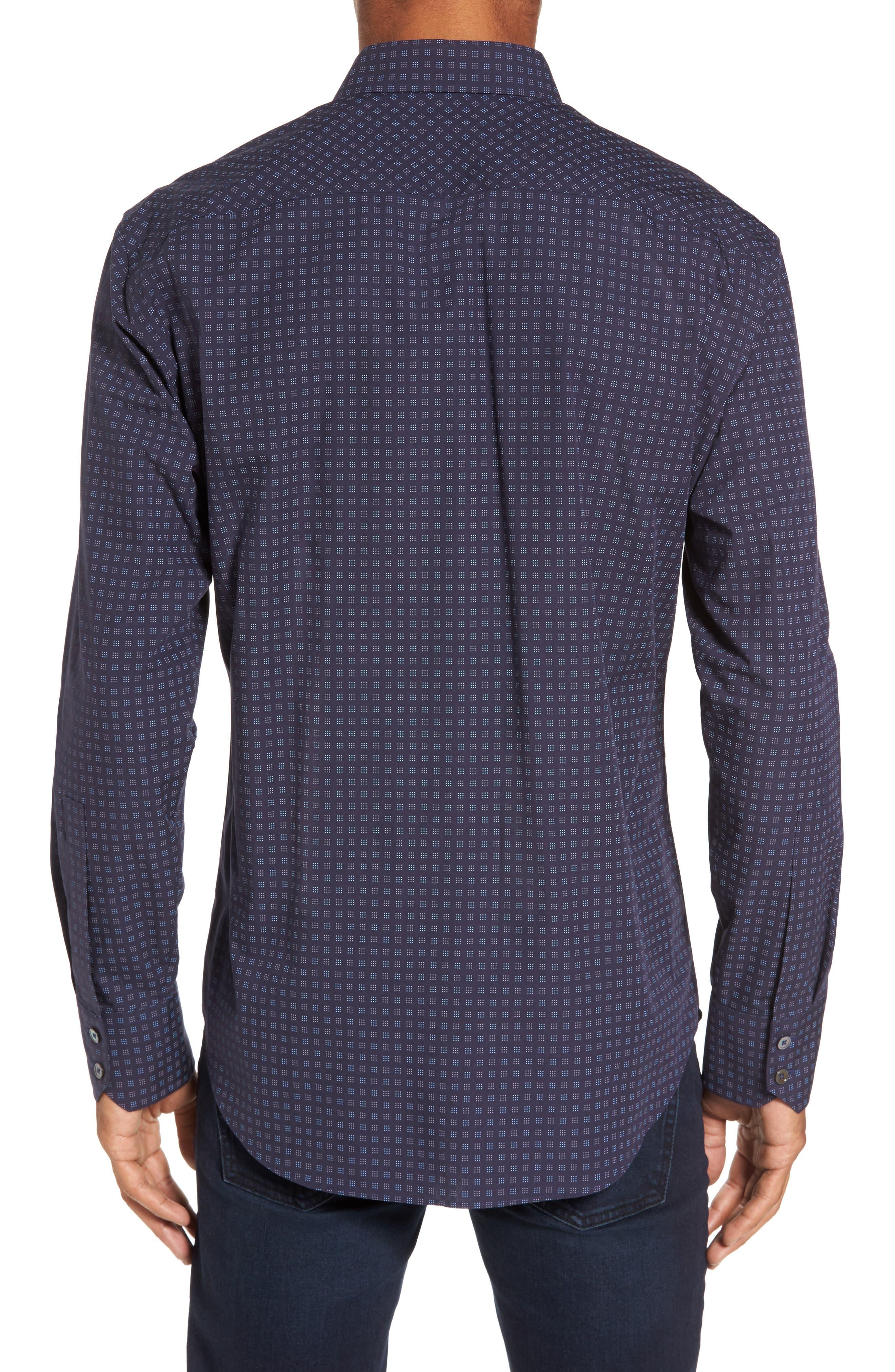 Maison Slim Fit Print Sport Shirt,                             Alternate thumbnail 2, color,                             Navy