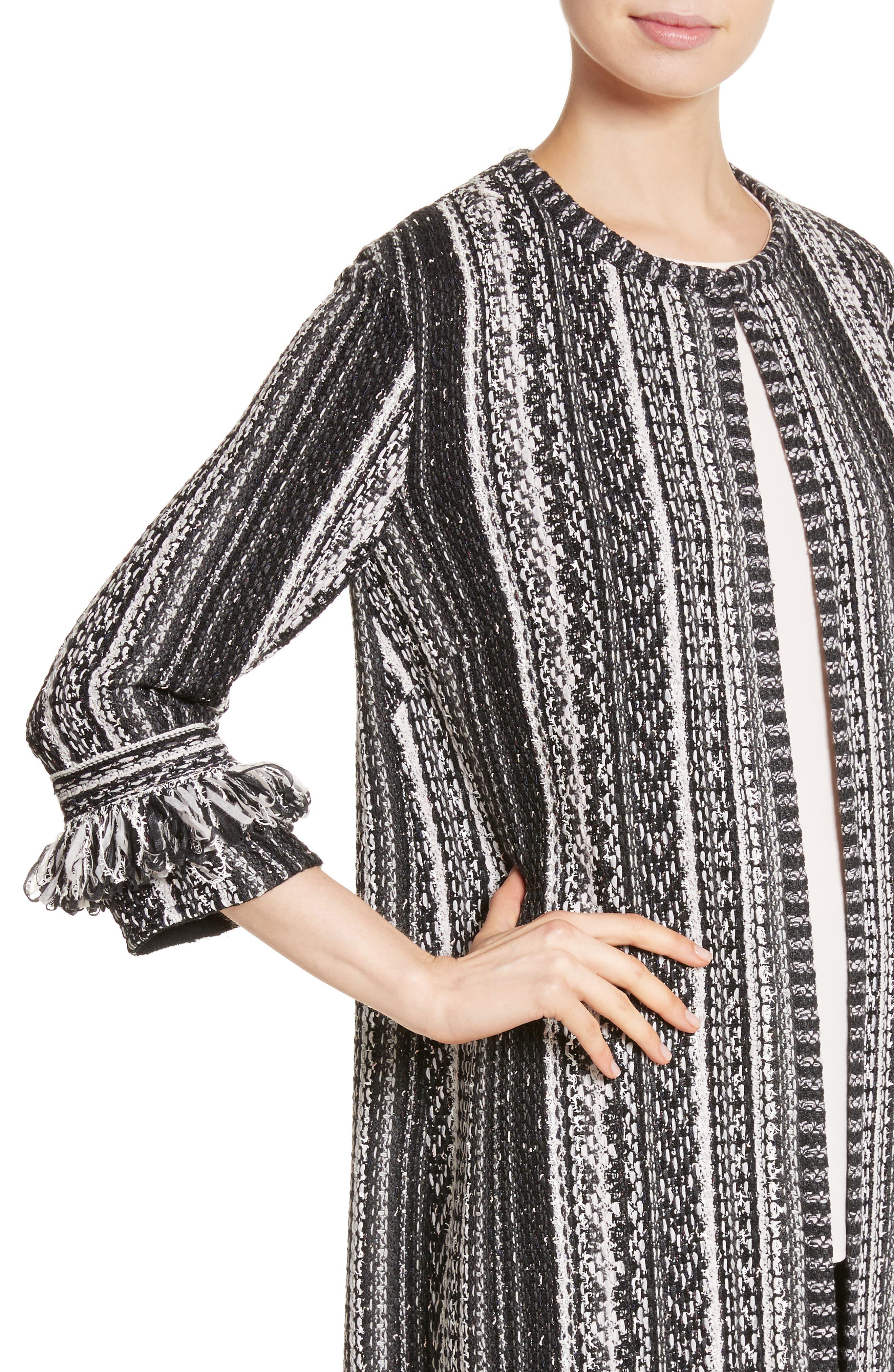 Fringe Ombré Stripe Tweed Knit Jacket,                             Alternate thumbnail 4, color,                             Caviar Multi