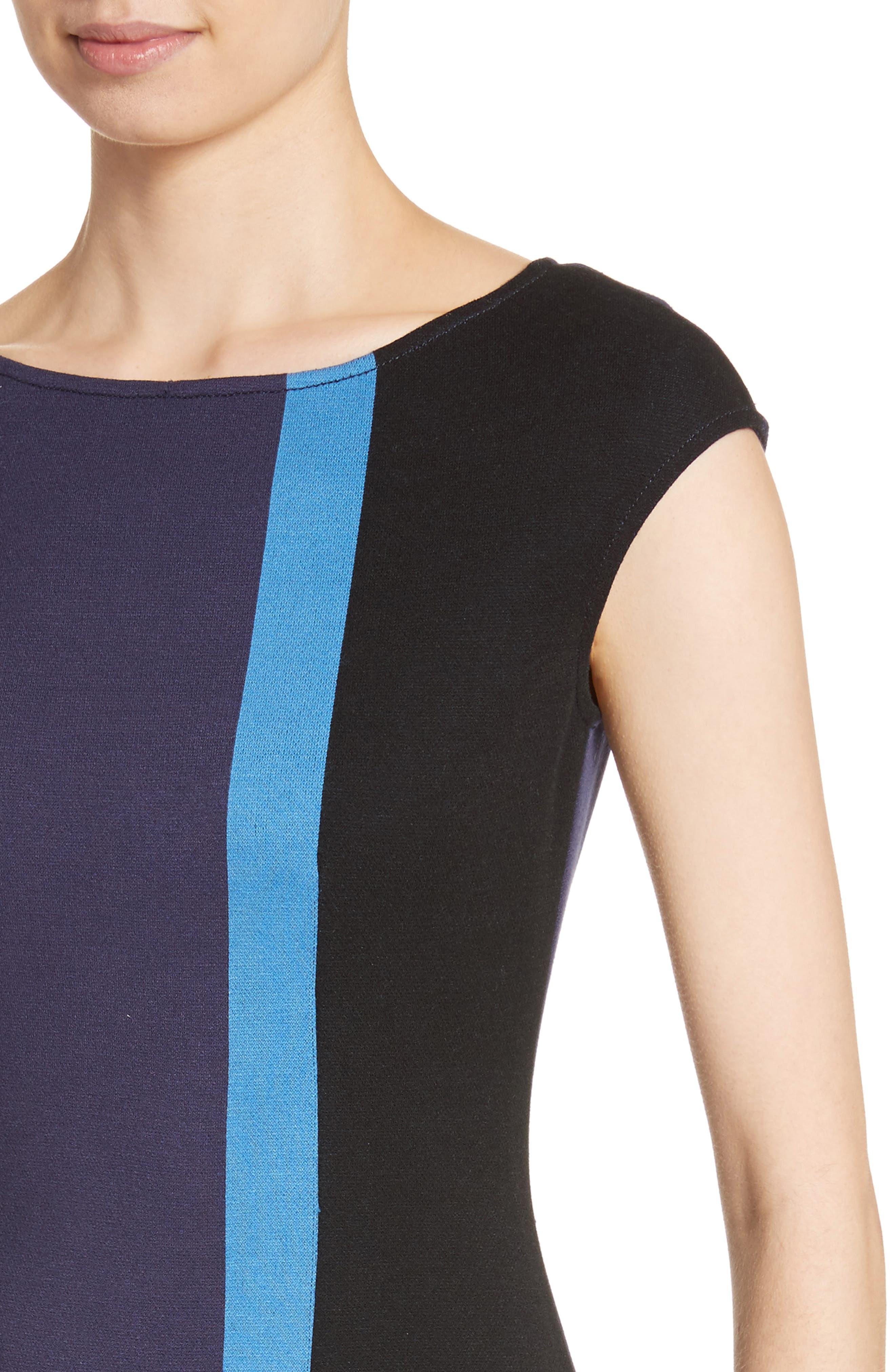 Colorblock Milano Knit Dress,                             Alternate thumbnail 4, color,                             Navy Multi