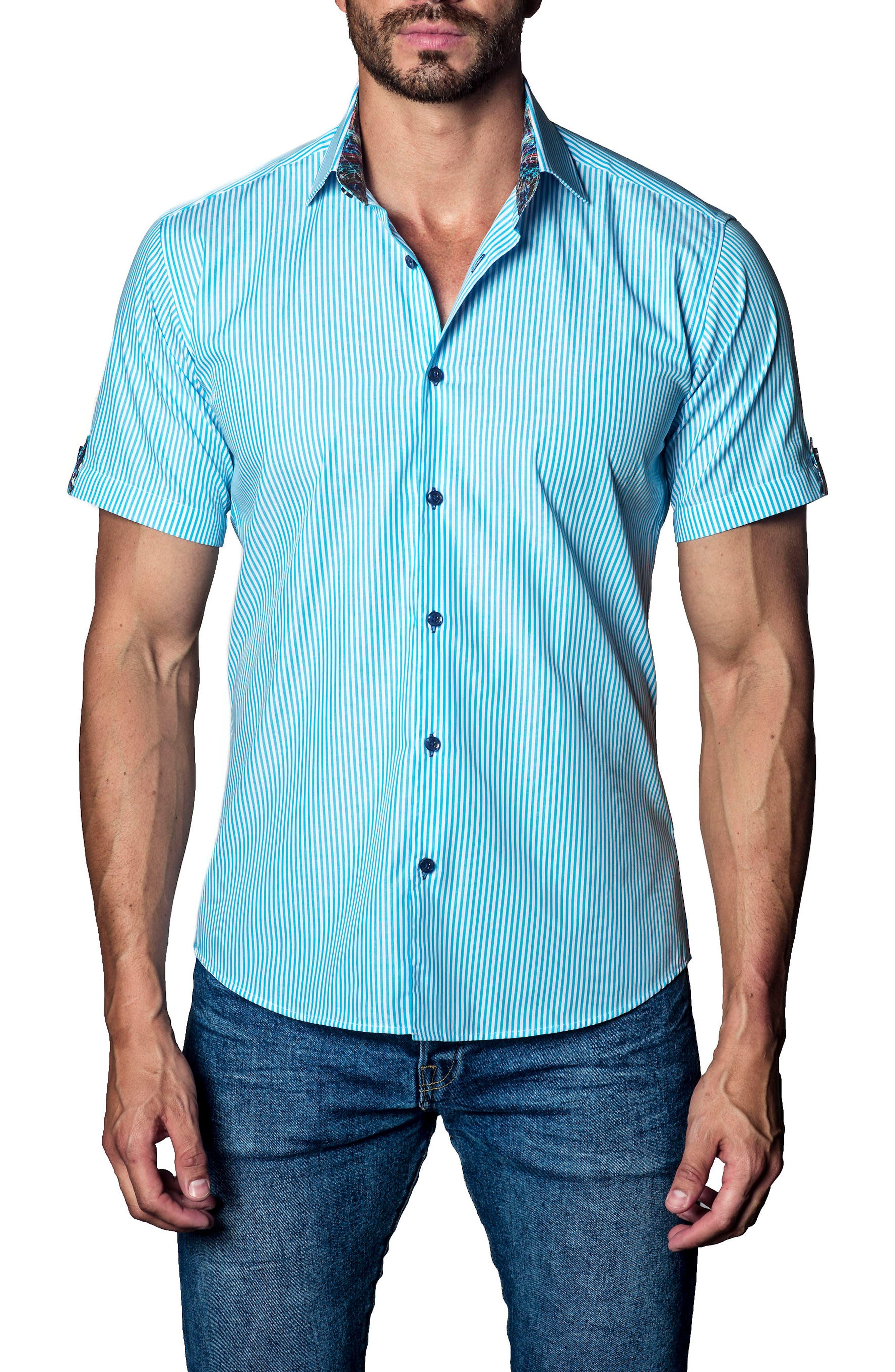 Stripe Sport Shirt,                             Main thumbnail 1, color,                             Blue Stripe