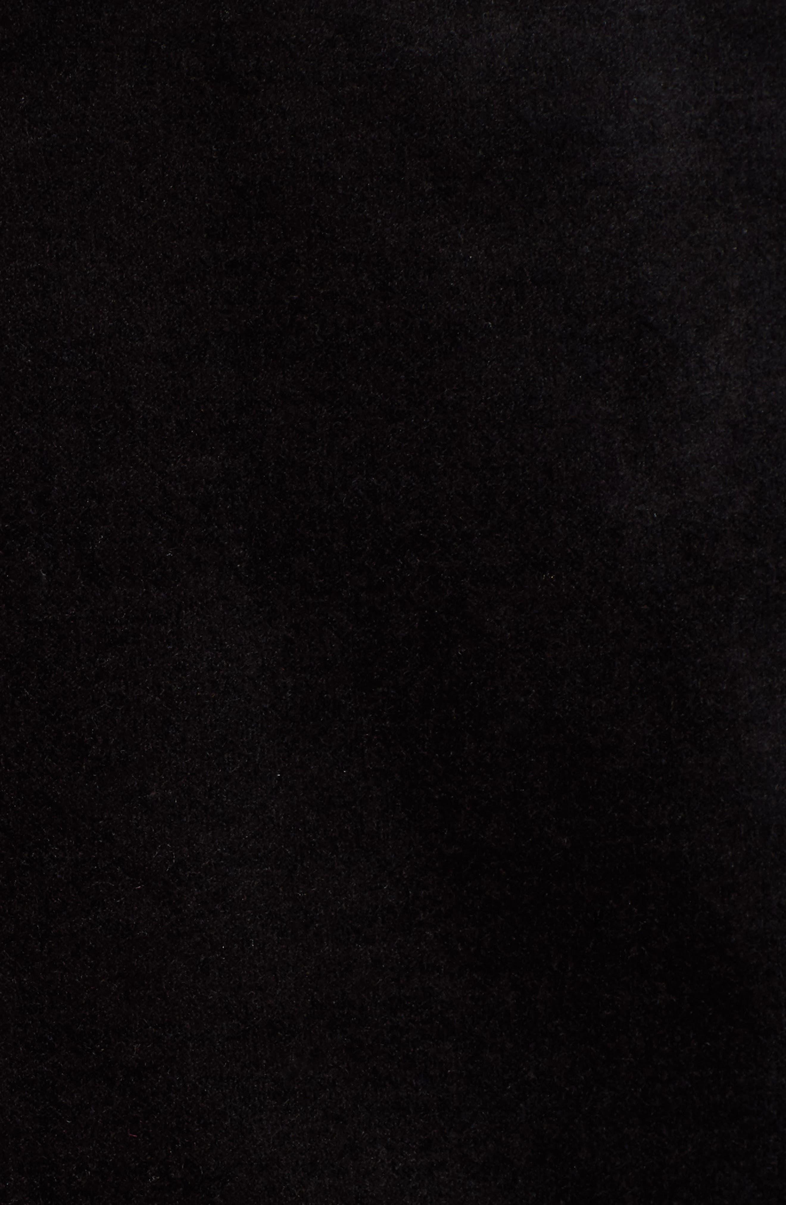 Ruffle Trim Velvet Skirt,                             Alternate thumbnail 5, color,                             Black