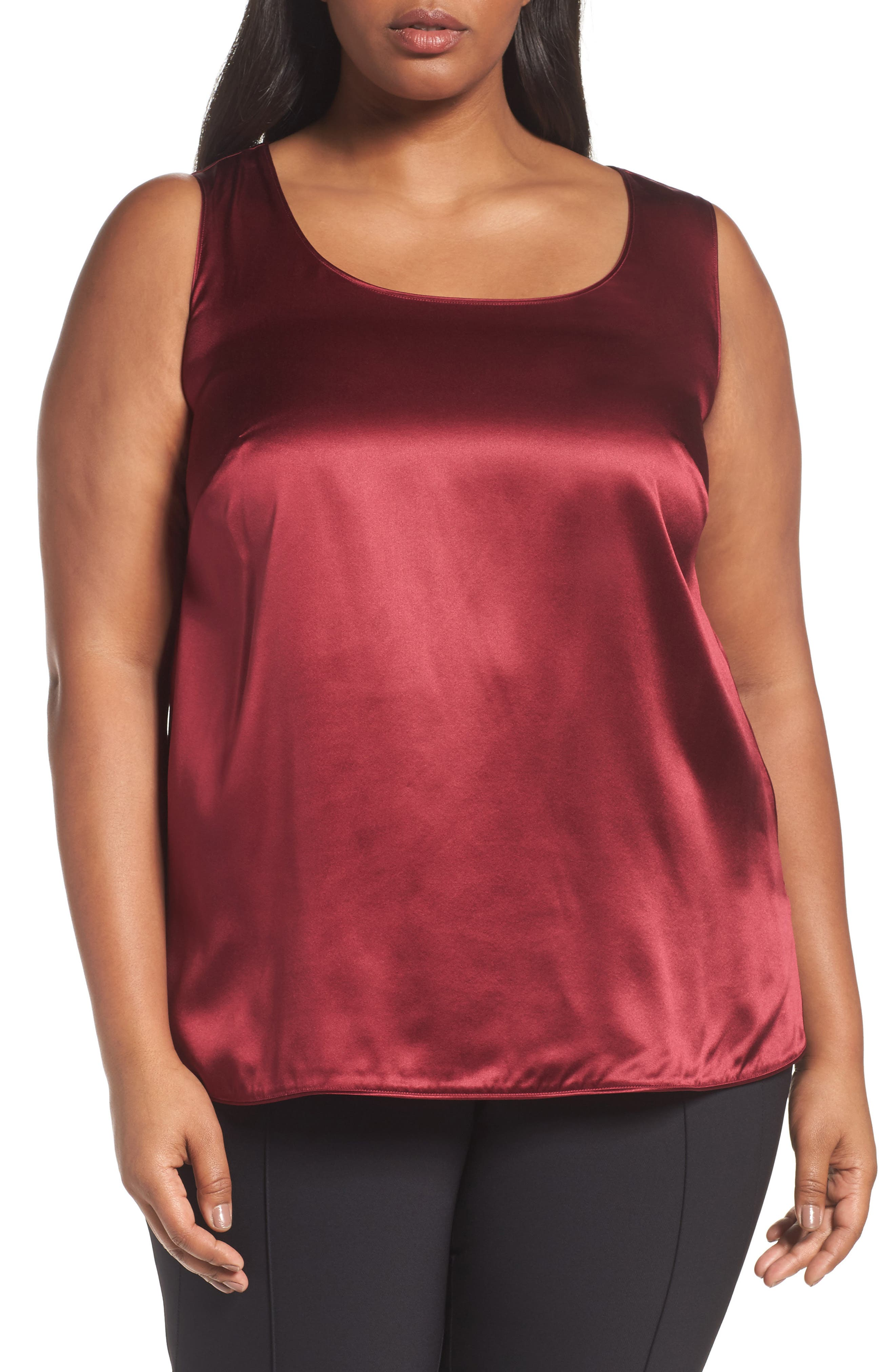 Alternate Image 1 Selected - Lafayette 148 New York Cleo Silk Charmeuse Shell (Plus Size)