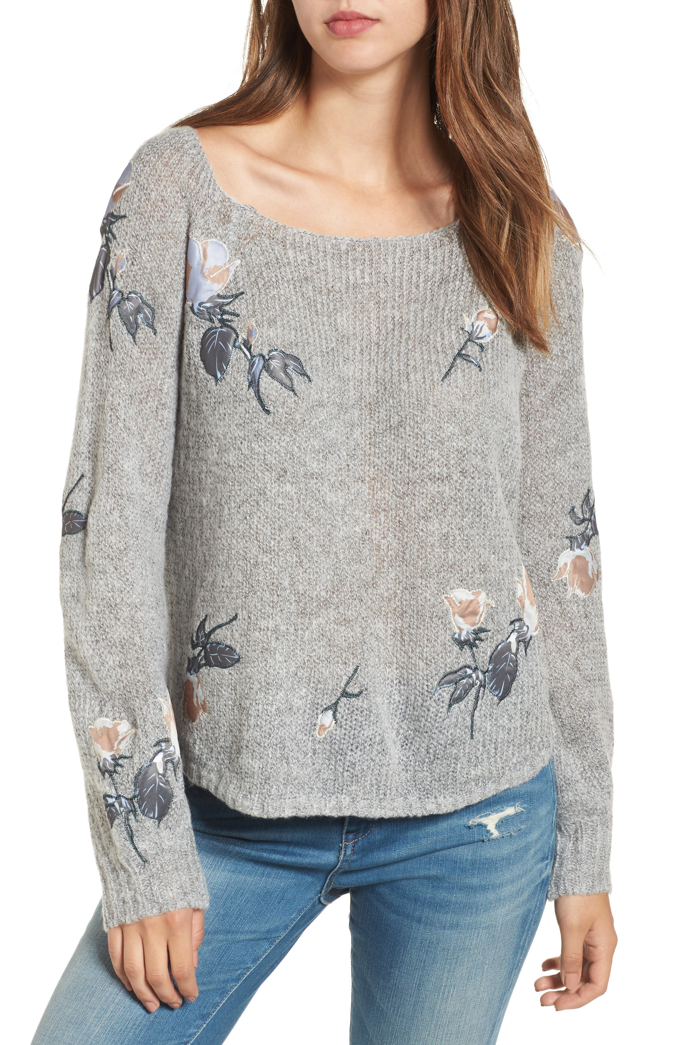 Embroidered Crop Sweater,                         Main,                         color, Grey
