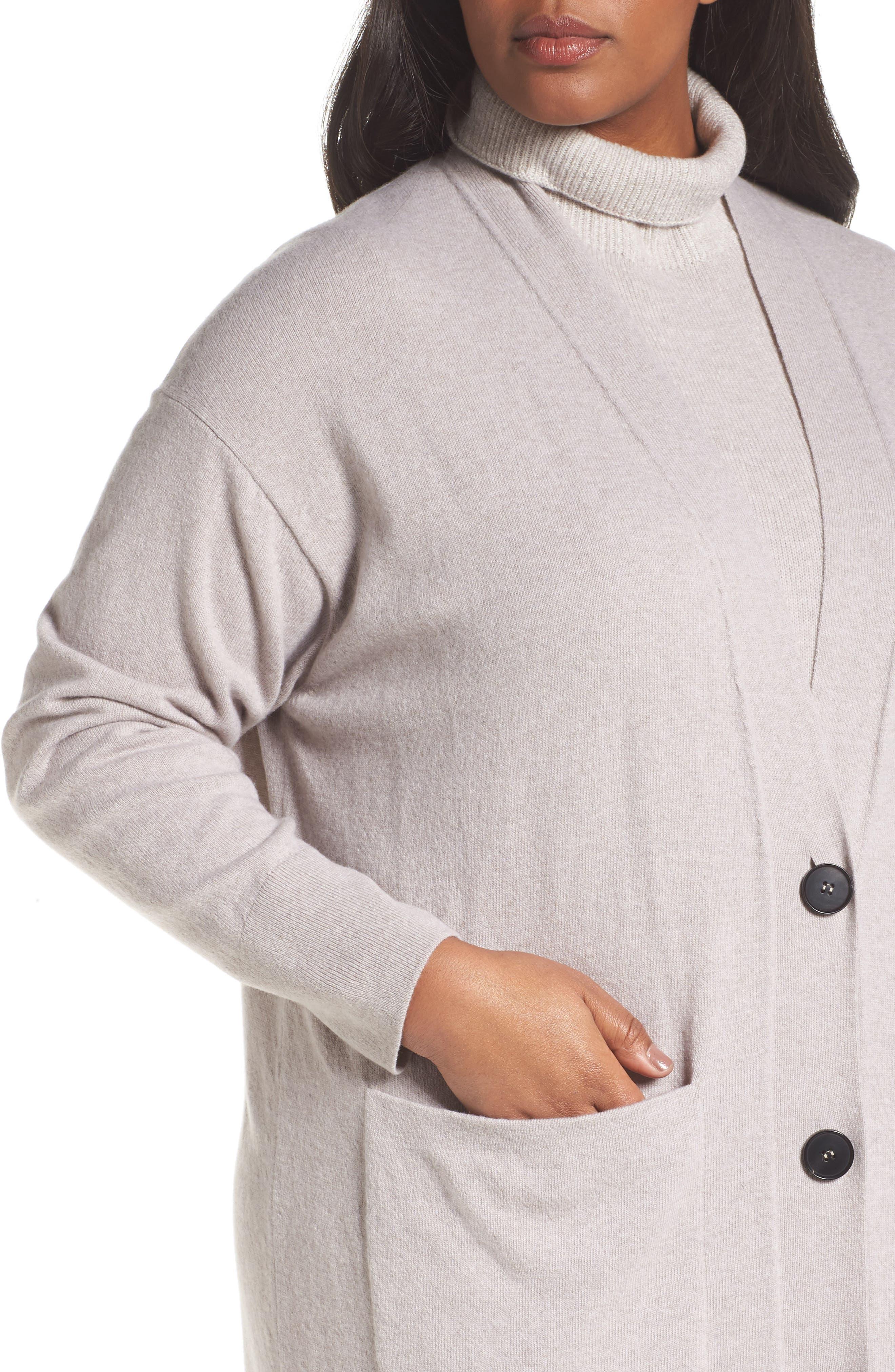 Long Merino Wool & Cashmere Cardigan,                             Alternate thumbnail 4, color,                             Luxor Melange