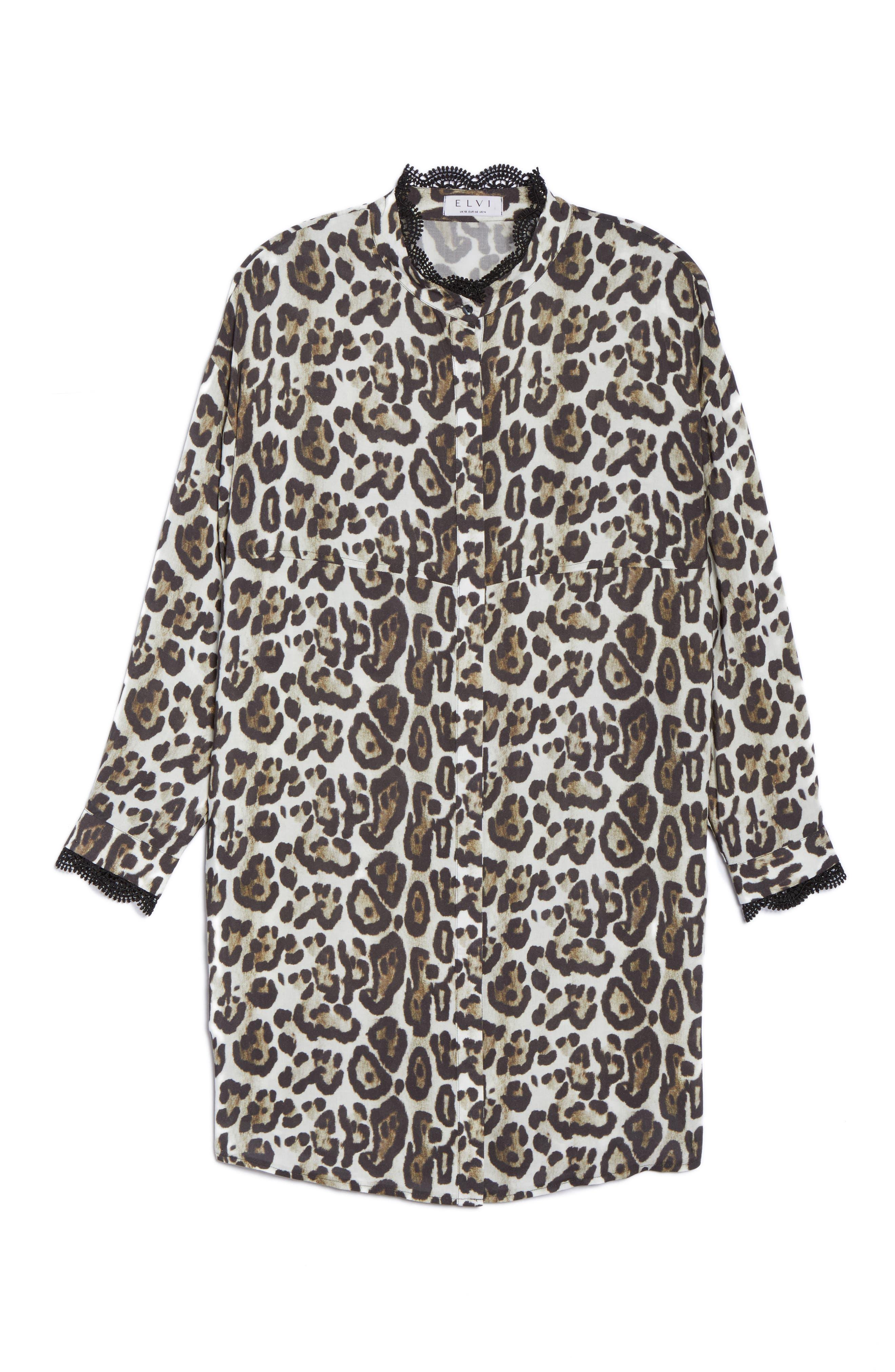 Oversize Leopard Print Blouse,                             Alternate thumbnail 6, color,                             Black/ Multi
