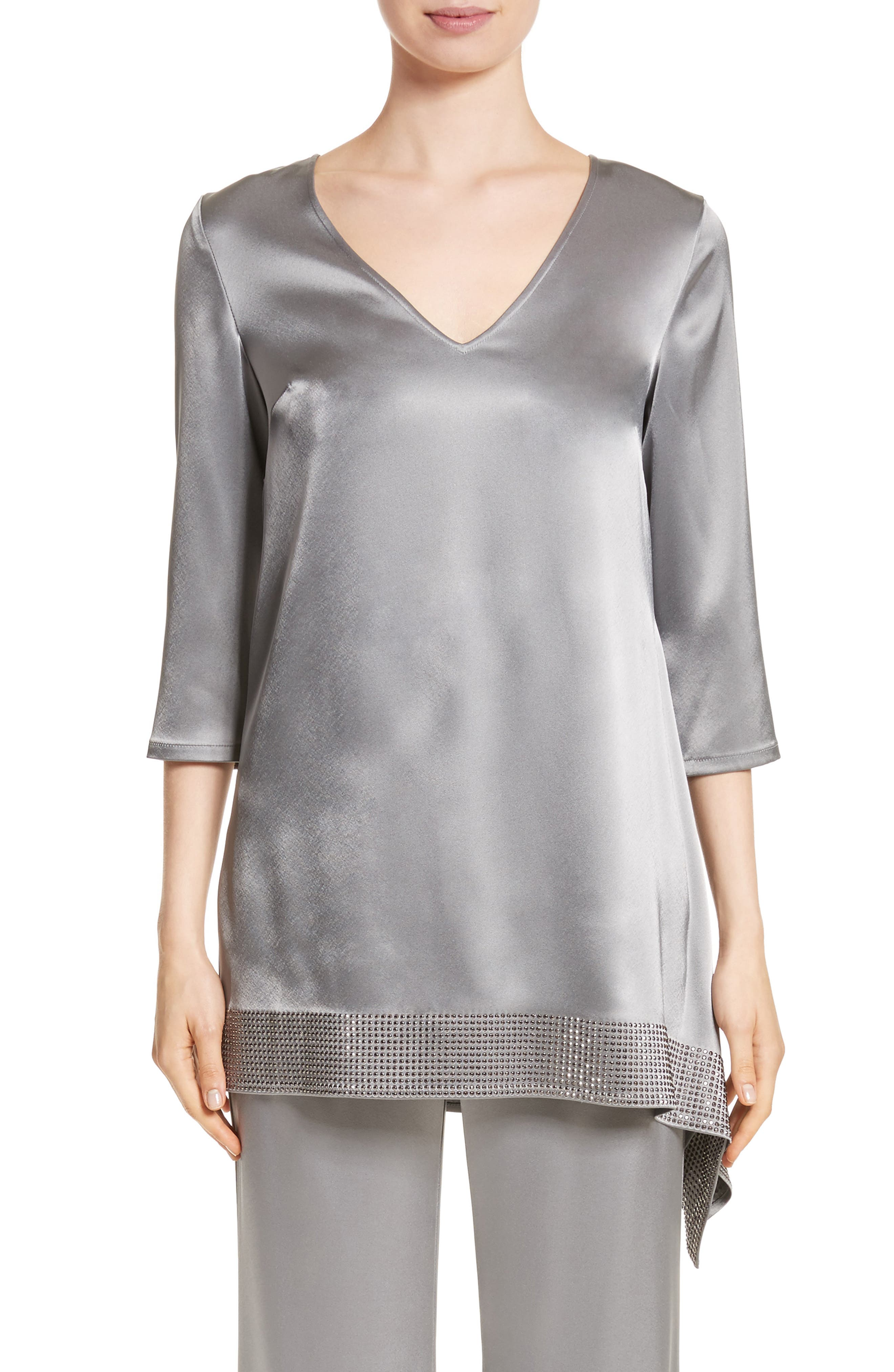 Alternate Image 1 Selected - St. John Collection Liquid Satin Asymmetrical Top