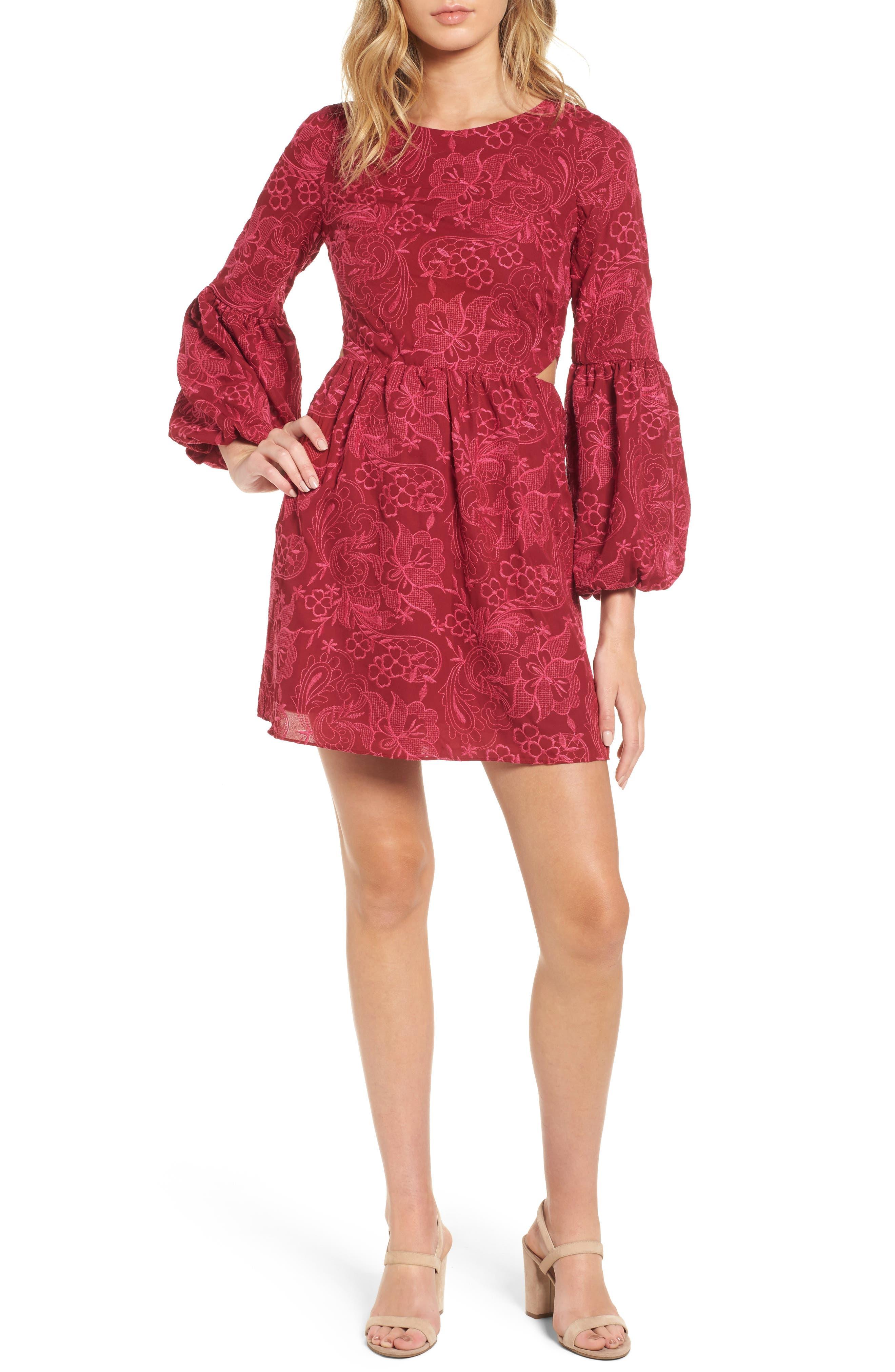 Serafina Bell Sleeve Dress,                             Main thumbnail 1, color,                             Shiraz