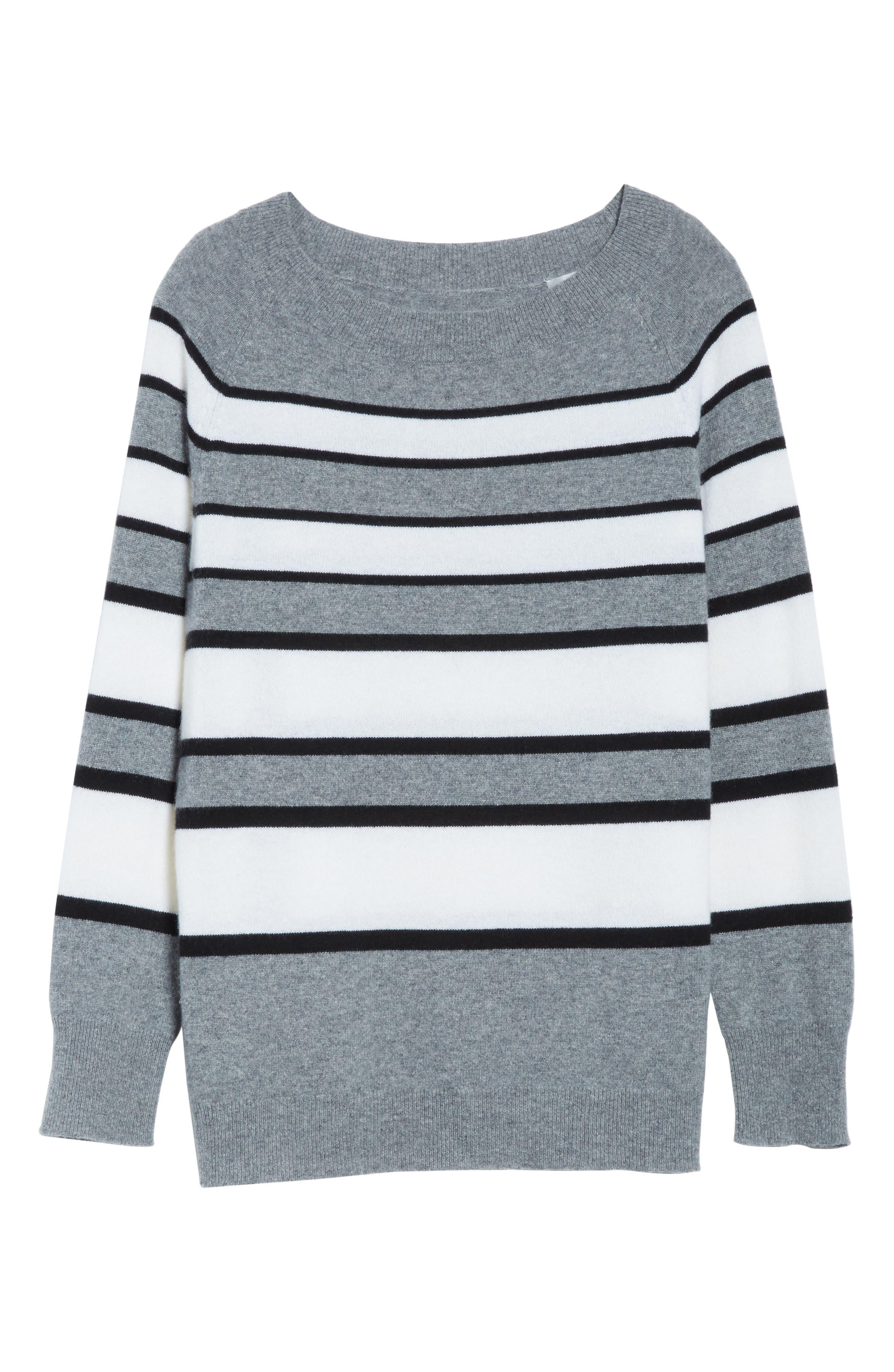 Cody Stripe Cashmere Boat Neck Sweater,                             Alternate thumbnail 6, color,                             Heather Grey Multi