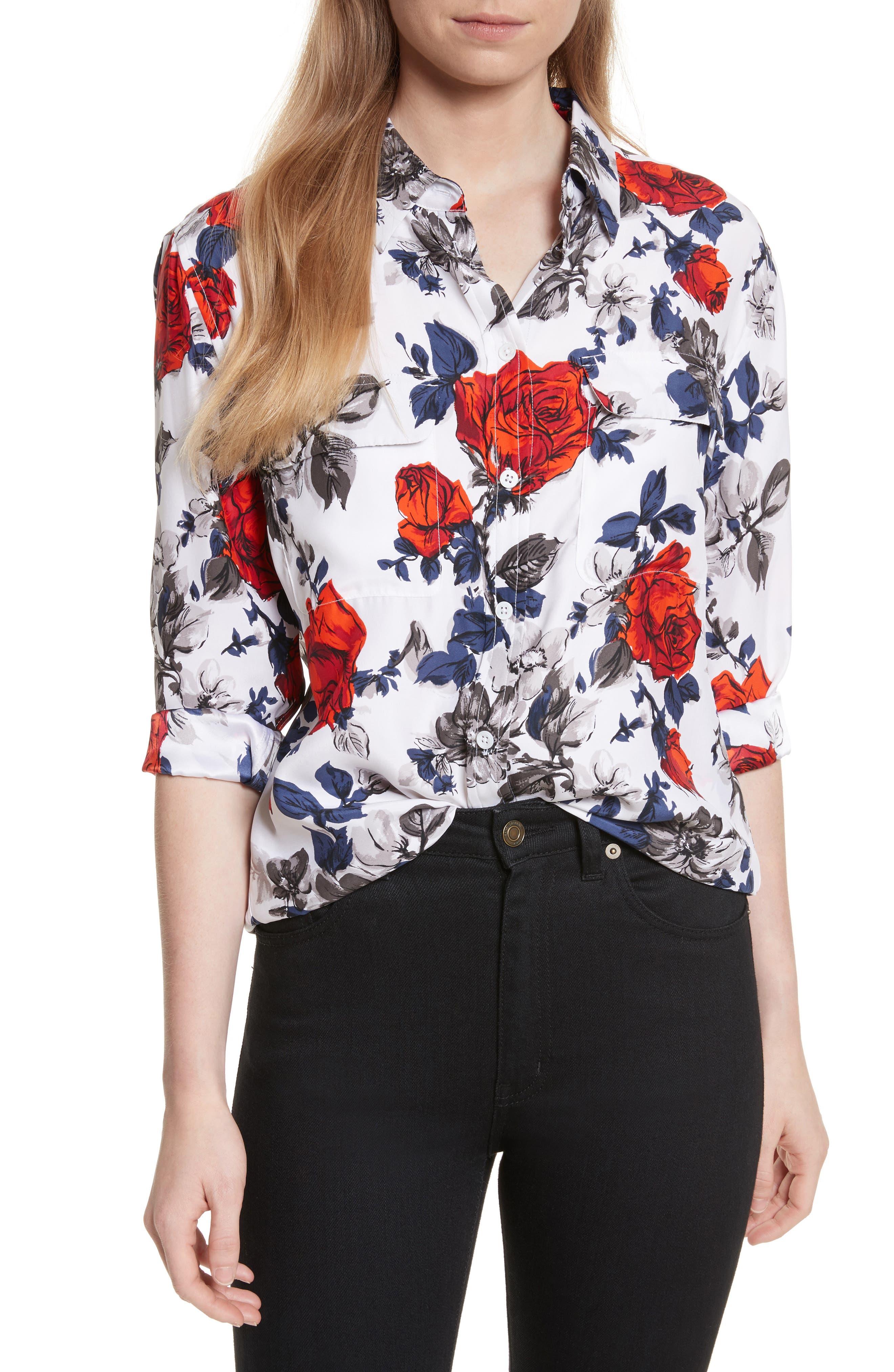 Signature Floral Silk Shirt,                         Main,                         color, Bright White Multi
