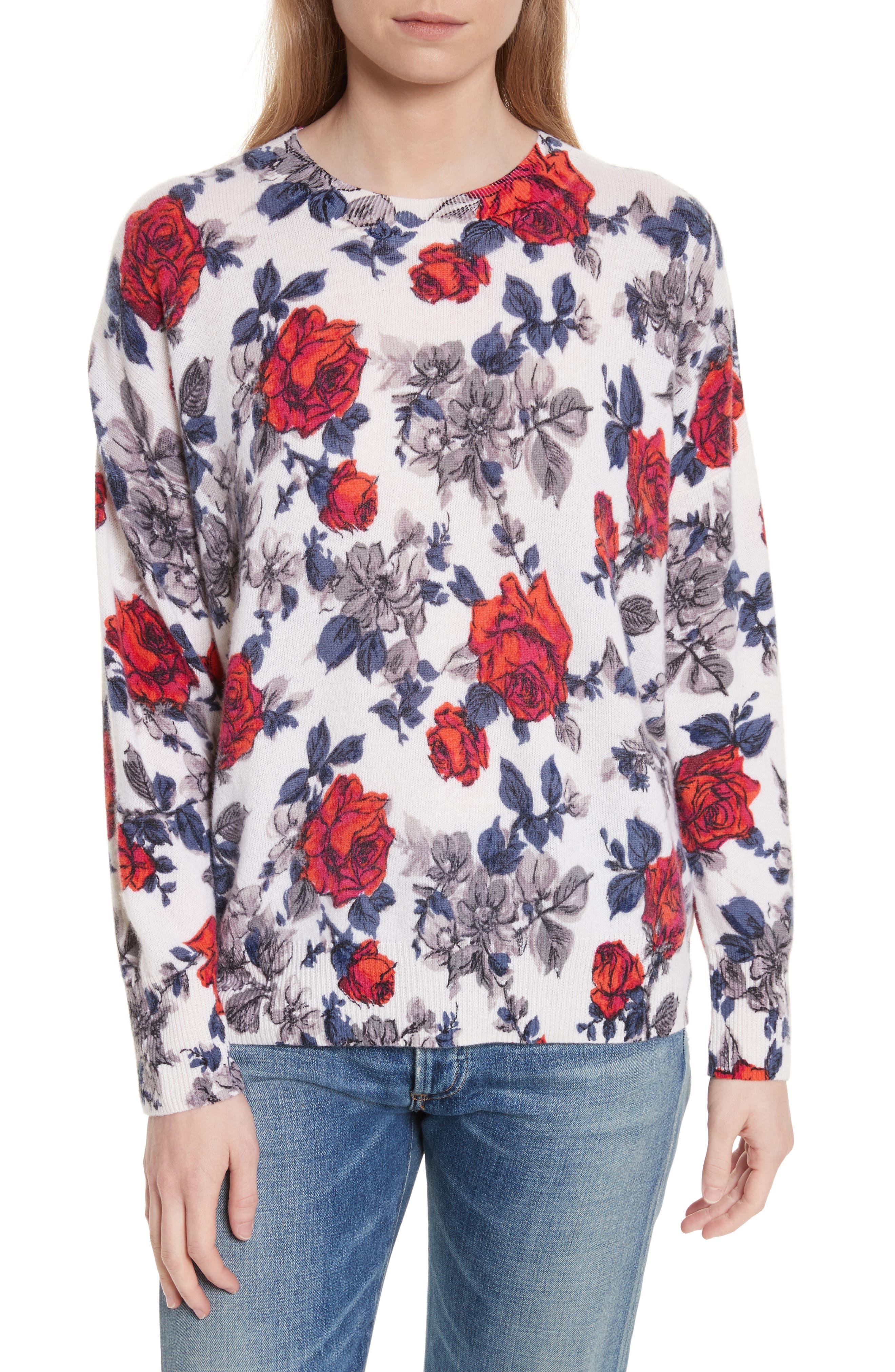 Melanie Flower Print Cashmere Sweater,                             Main thumbnail 1, color,                             Ivory Multi