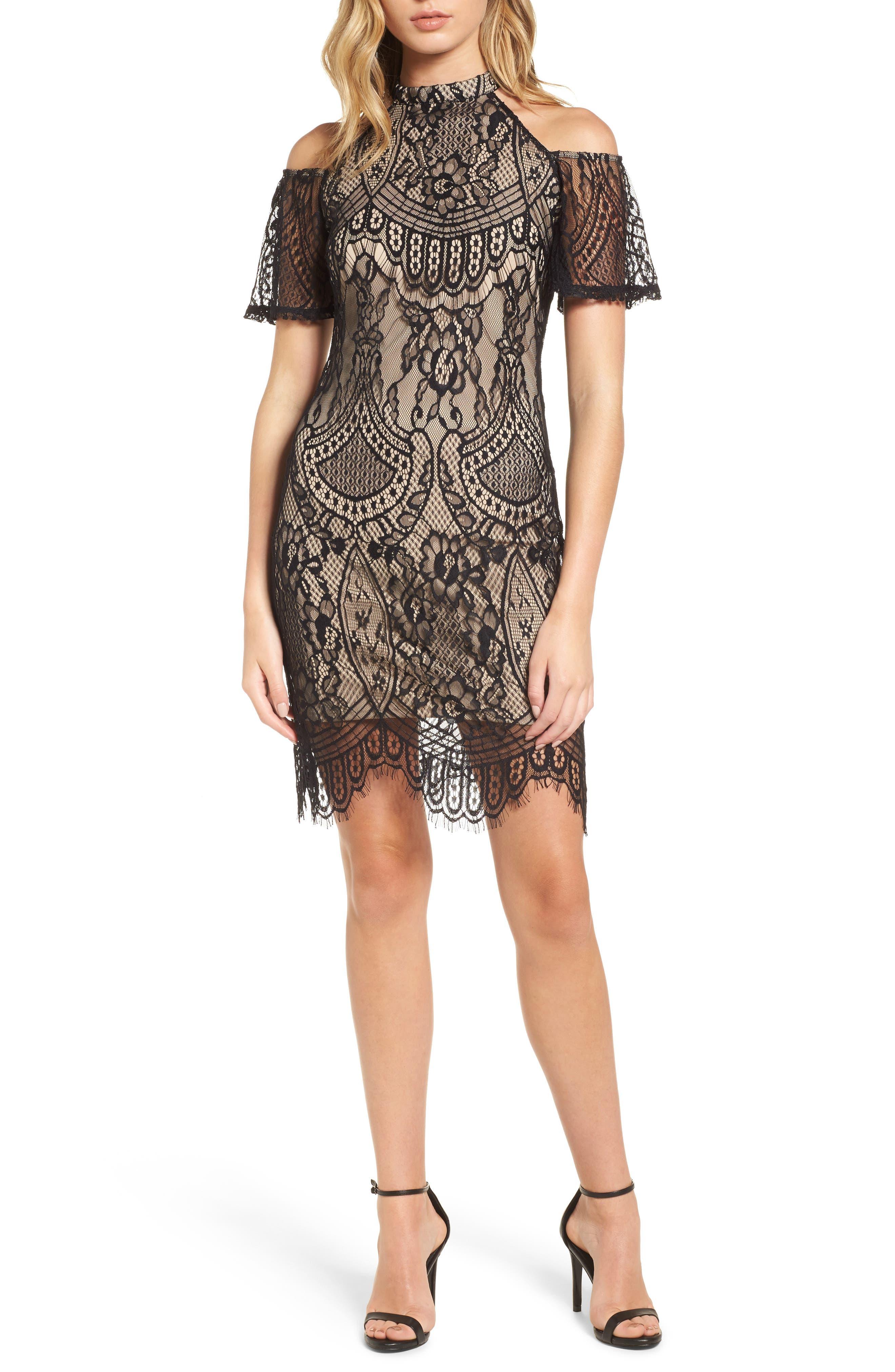 Love, Fire Lace Cold Shoulder Dress