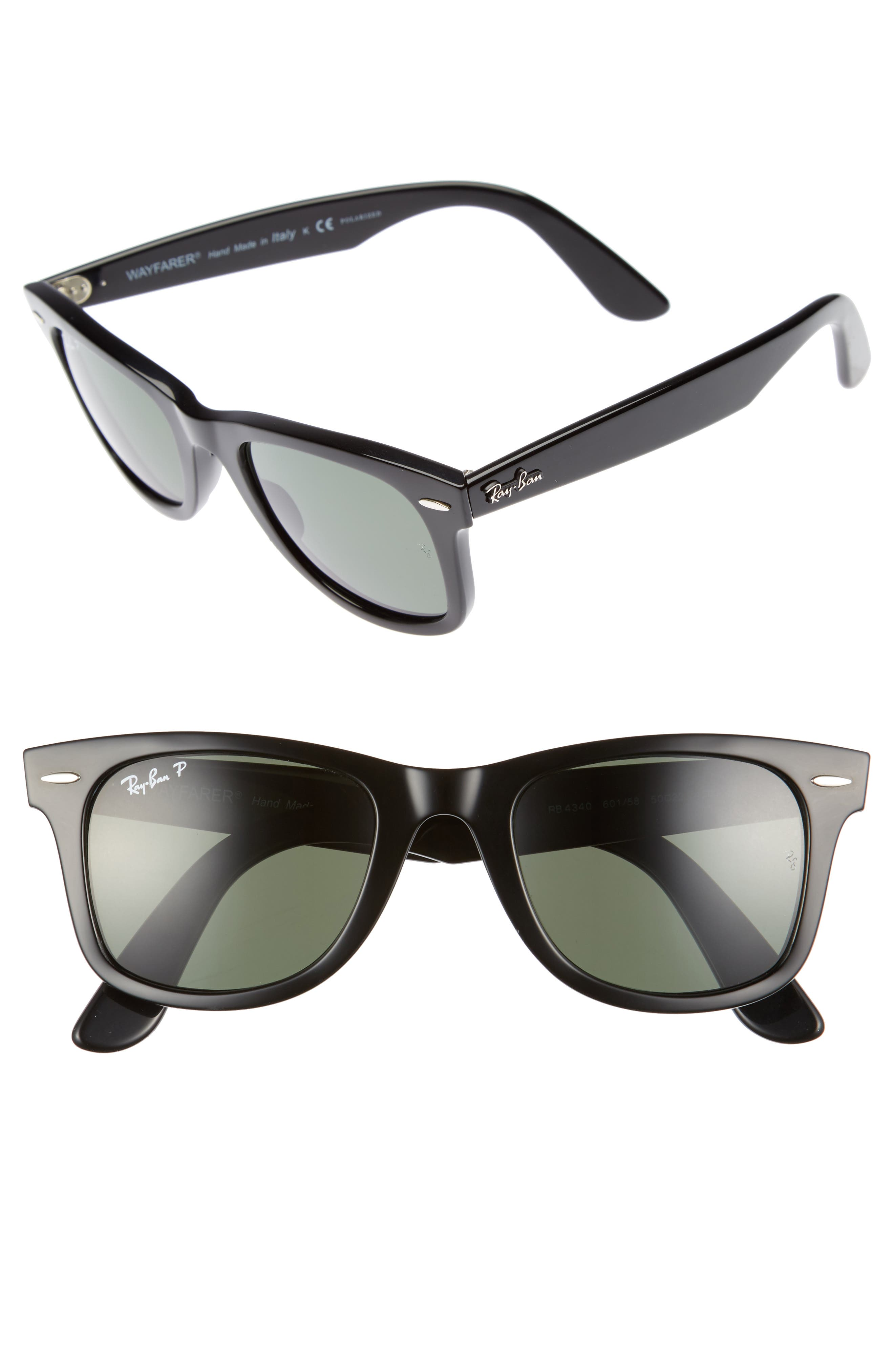 50mm Polarized Wayfarer Sunglasses,                         Main,                         color, Black