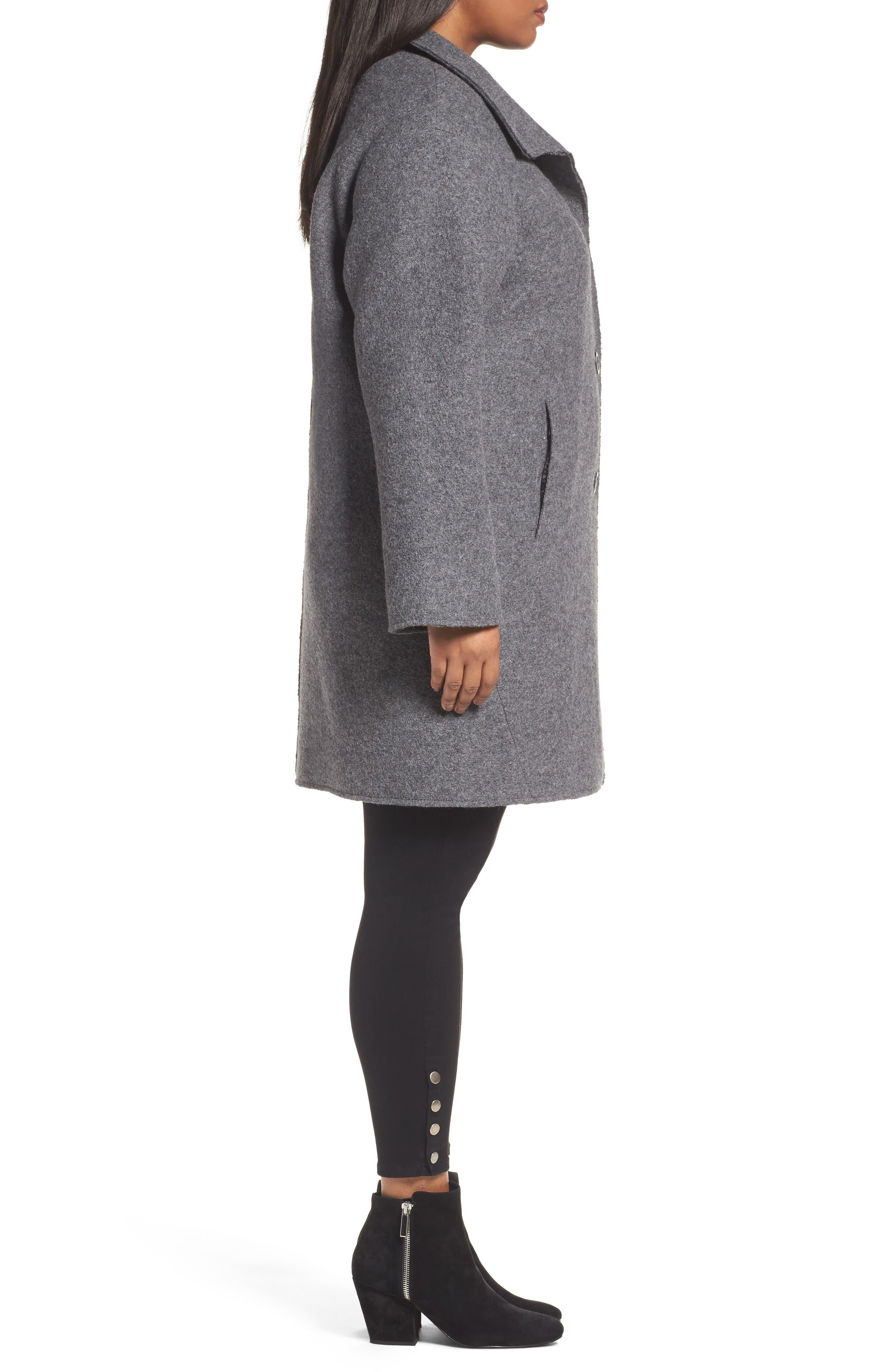 Wool Blend Coat,                             Alternate thumbnail 3, color,                             Medium Charcoal