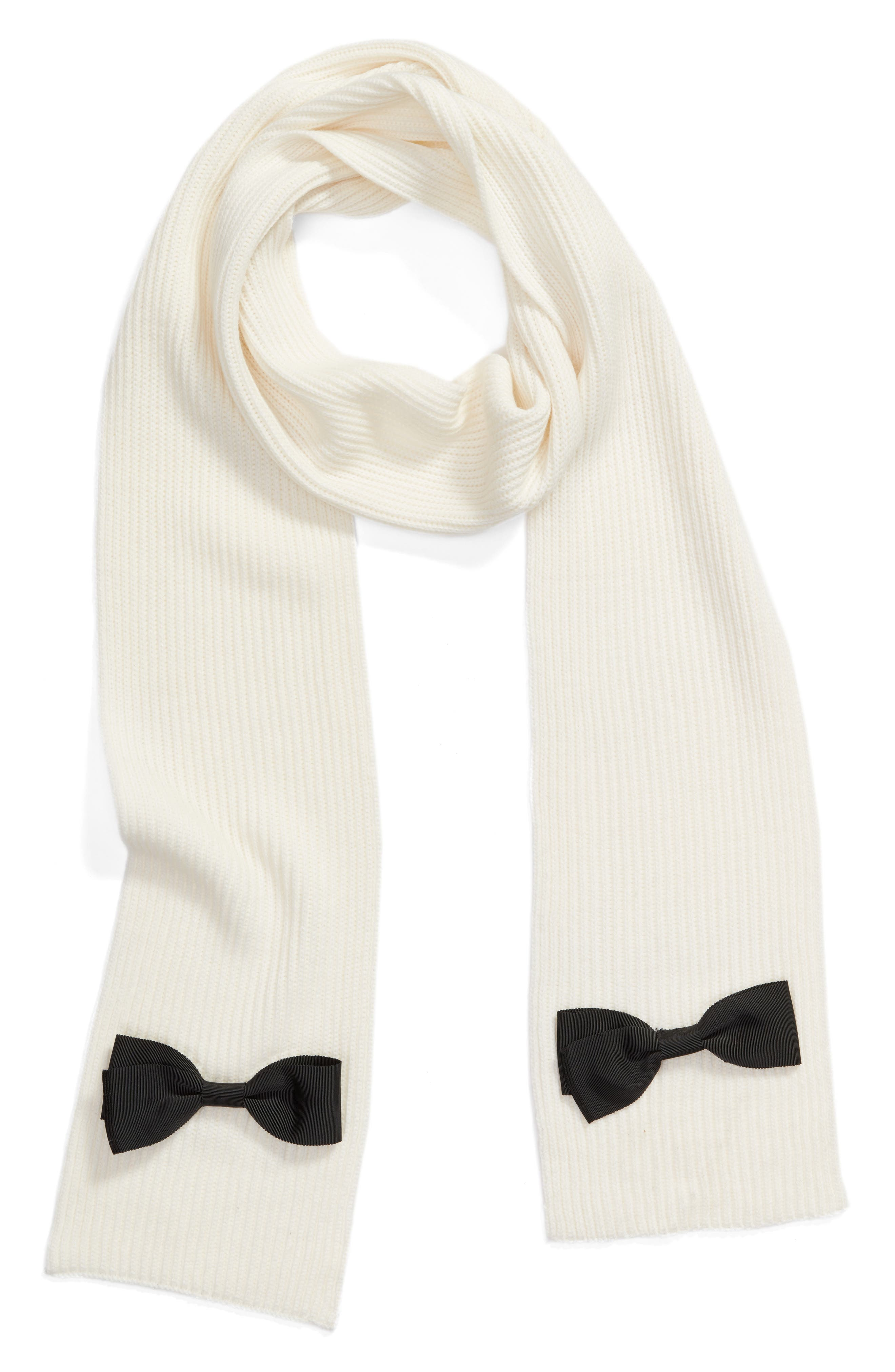 grosgrain bow muffler scarf,                             Alternate thumbnail 3, color,                             Cream