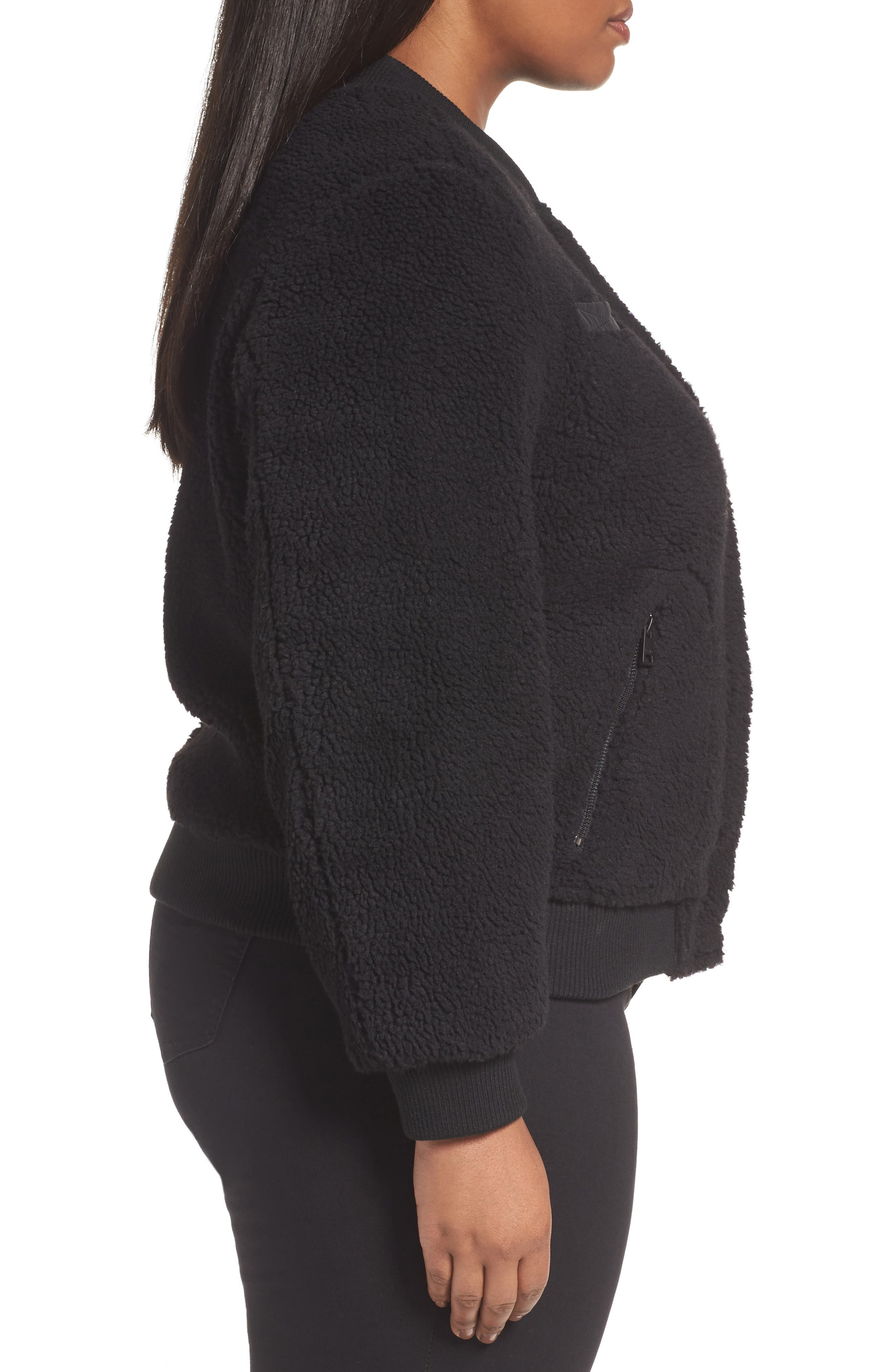 Rib Knit Fleece Bomber Jacket,                             Alternate thumbnail 3, color,                             Black