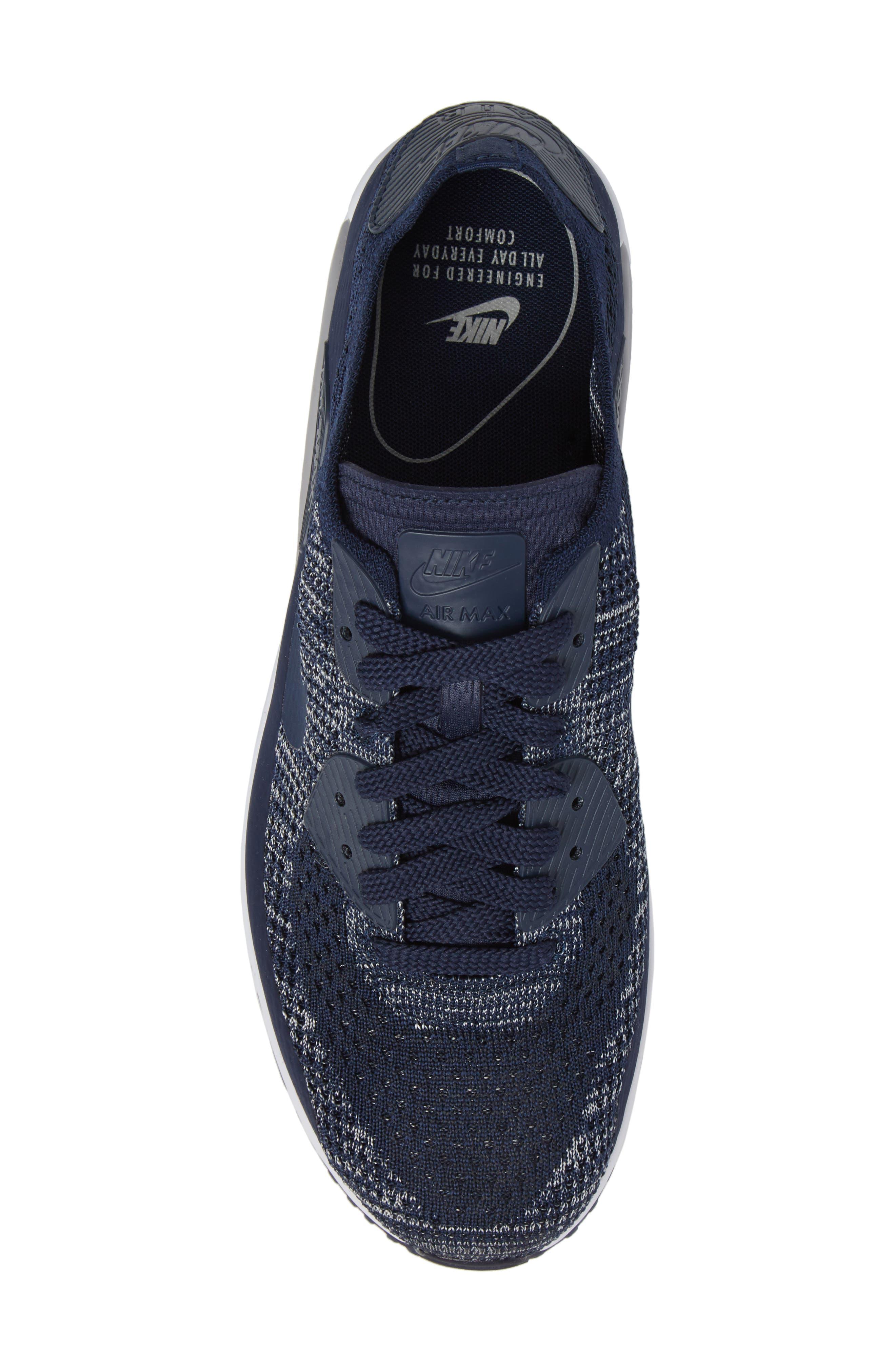 Air Max 90 Ultra 2.0 Flyknit Sneaker,                             Alternate thumbnail 5, color,                             Navy/ Navy/ Grey