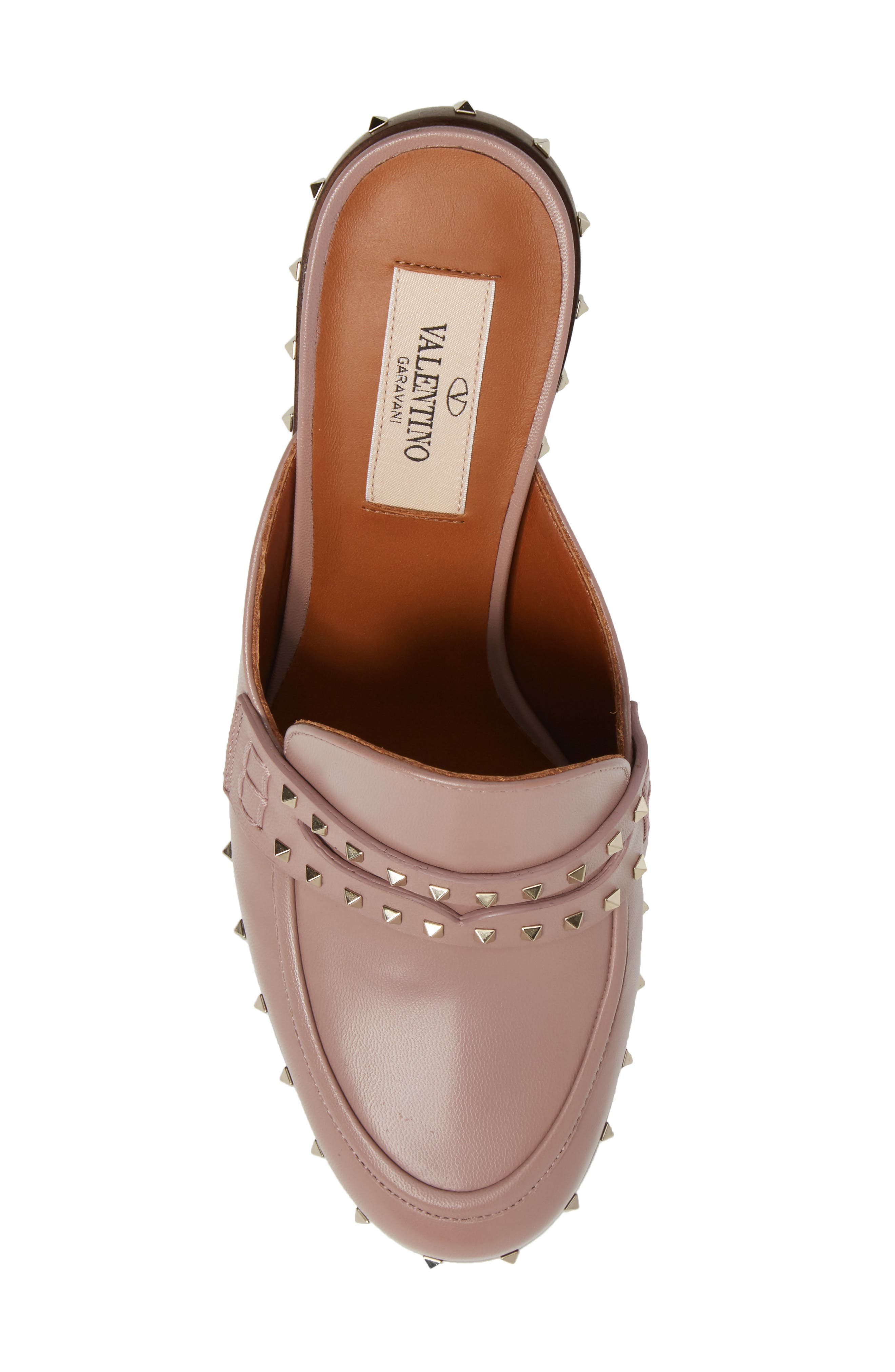 Rockstud Loafer Mule,                             Alternate thumbnail 5, color,                             Pink Leather