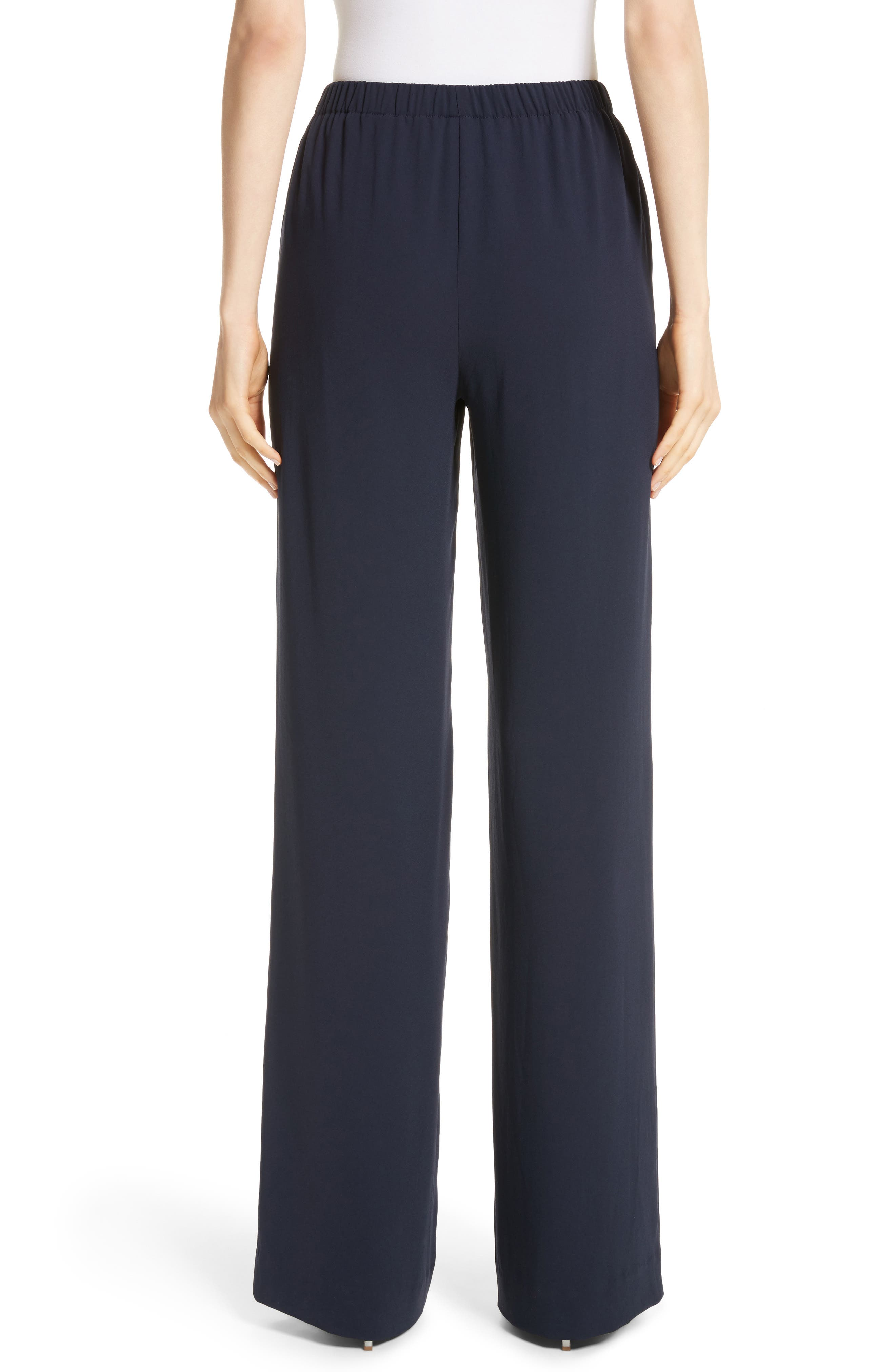 Satin Back Crepe Pants,                             Alternate thumbnail 2, color,                             Navy