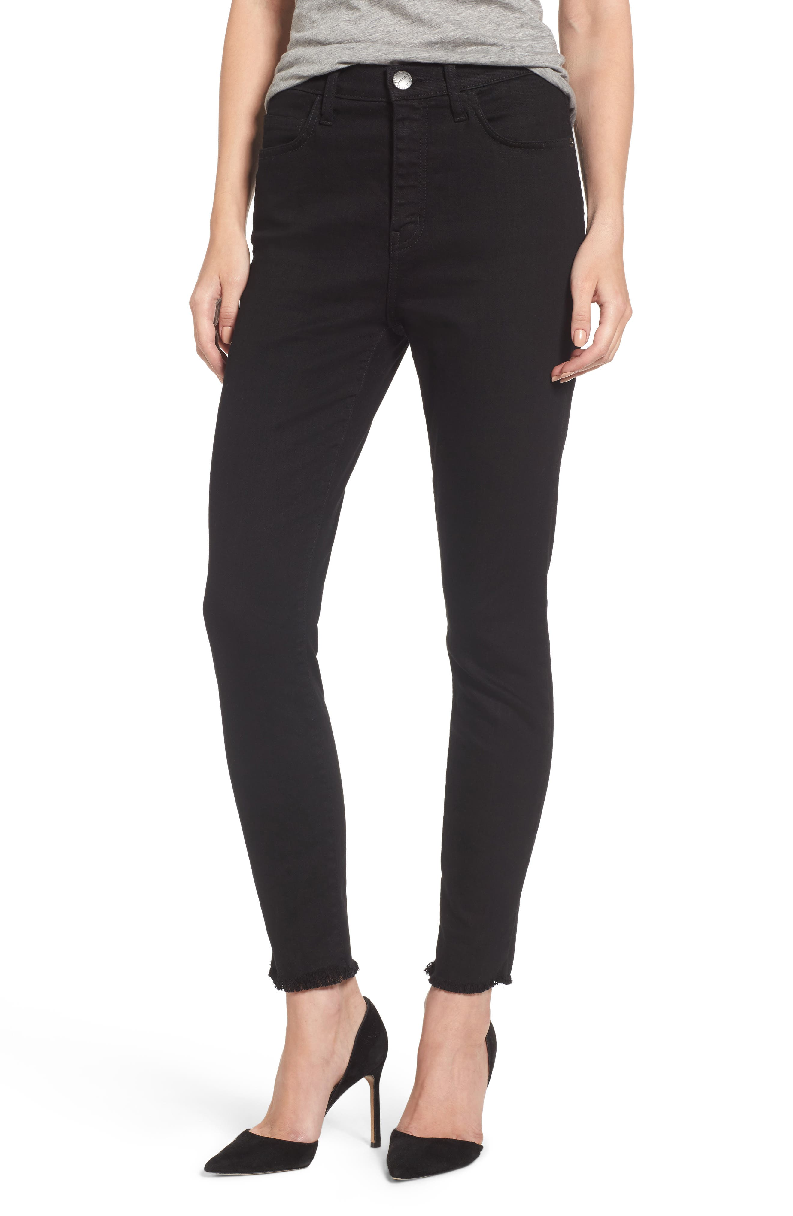 Alternate Image 1 Selected - Current/Elliott The Super High Waist Stiletto Ankle Skinny Jeans (Jet Black)