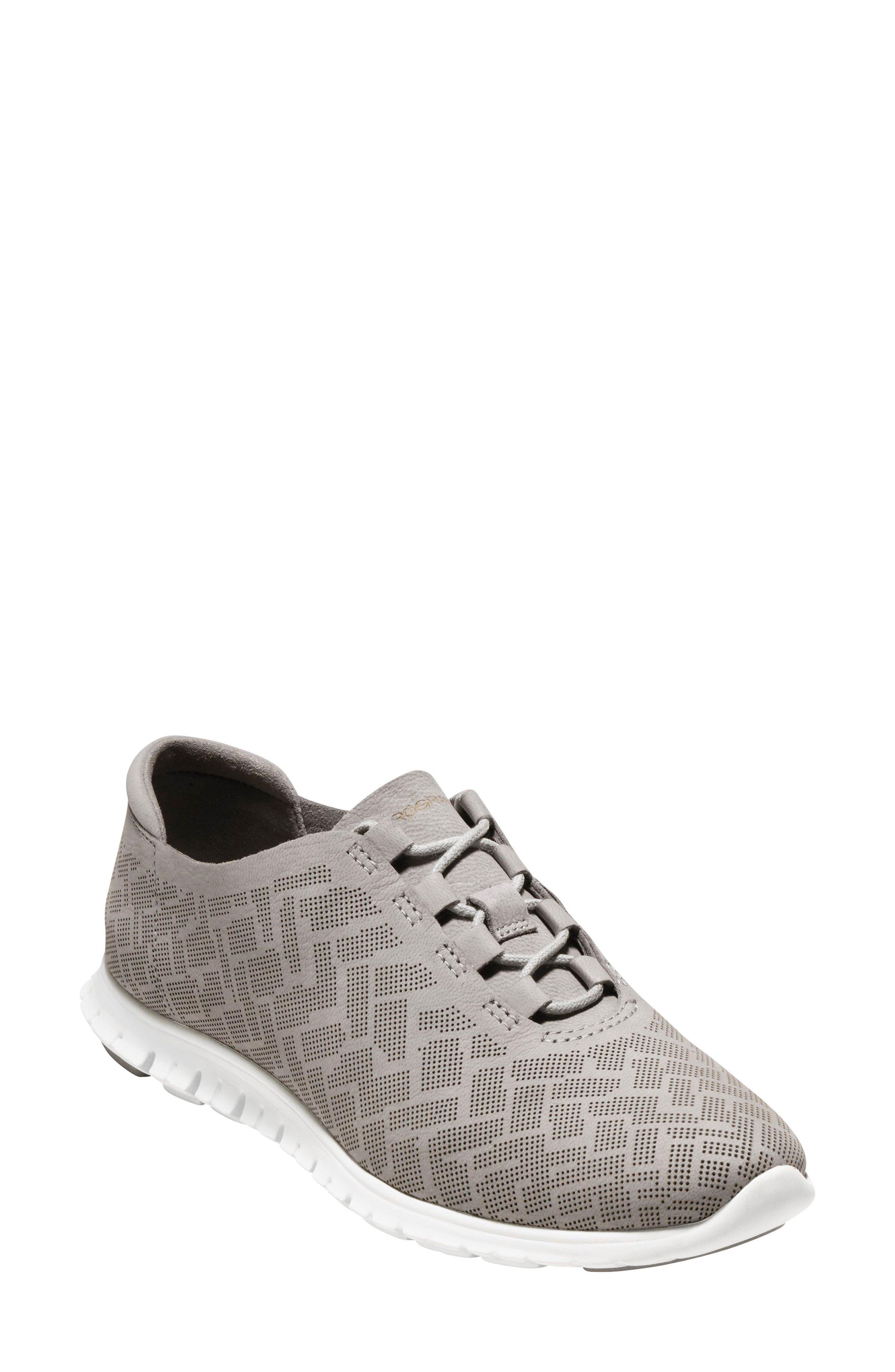 ZERØGRAND Genevieve Perforated Sneaker,                         Main,                         color, Ironstone Perf Nubuck