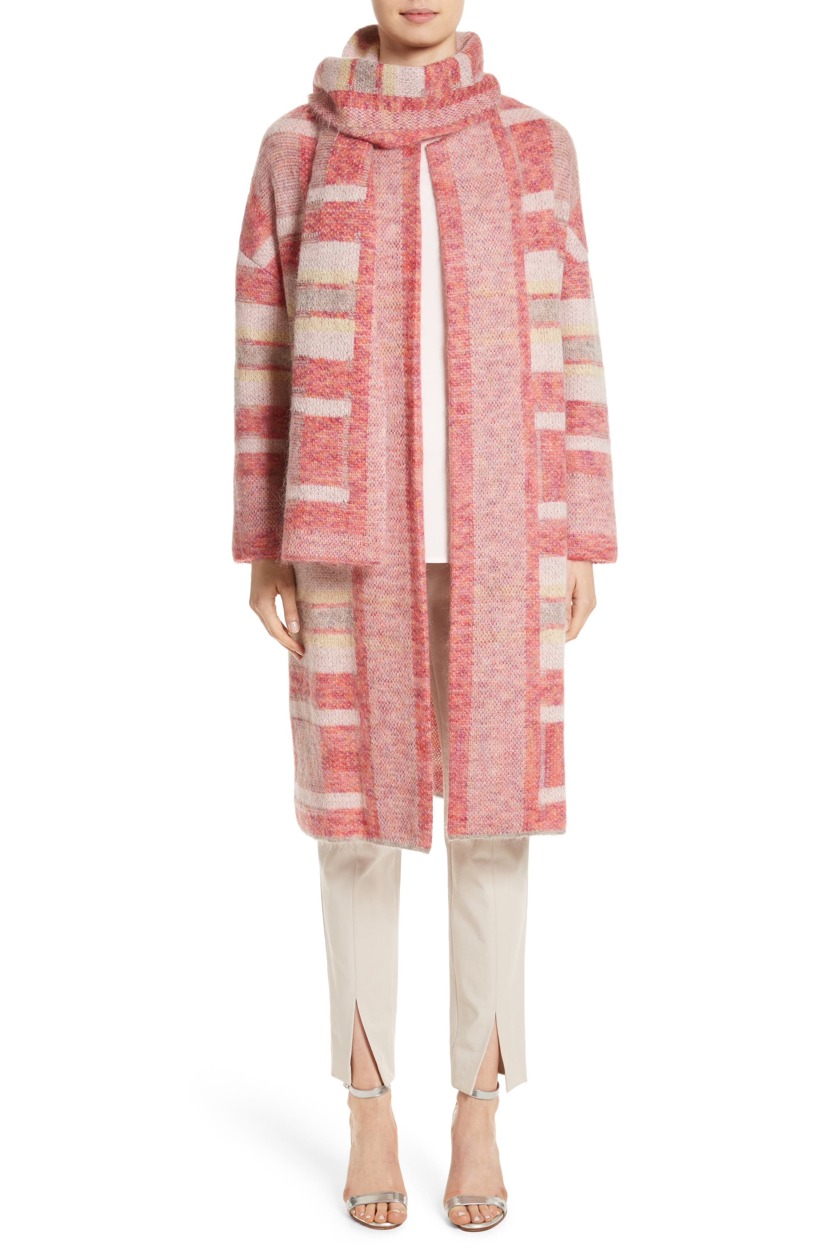 Lofty Knit Plaid Blanket Coat,                             Alternate thumbnail 6, color,                             Bright Coral Multi