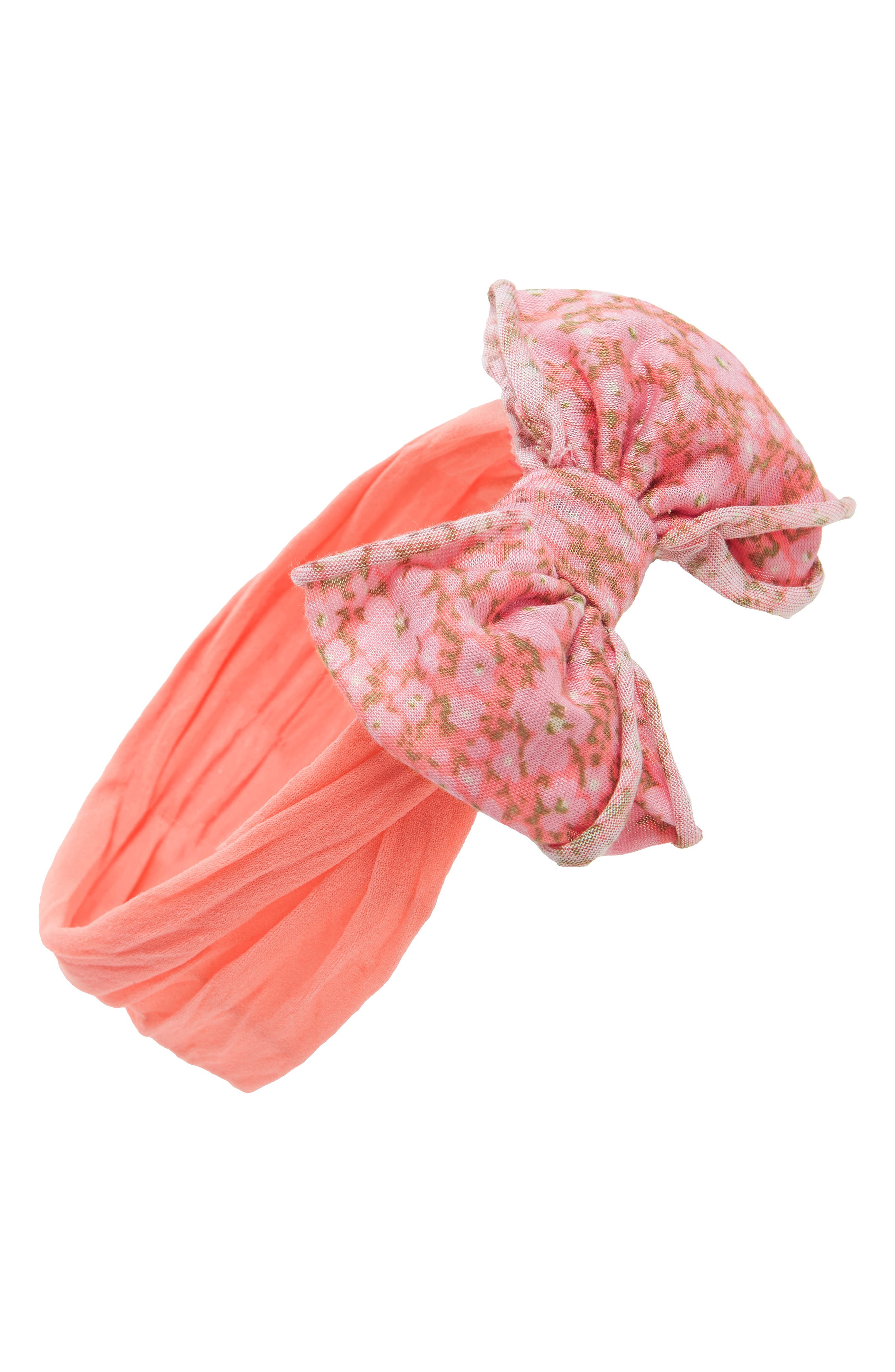 Jersey Bow Headband,                         Main,                         color, Coral Floral