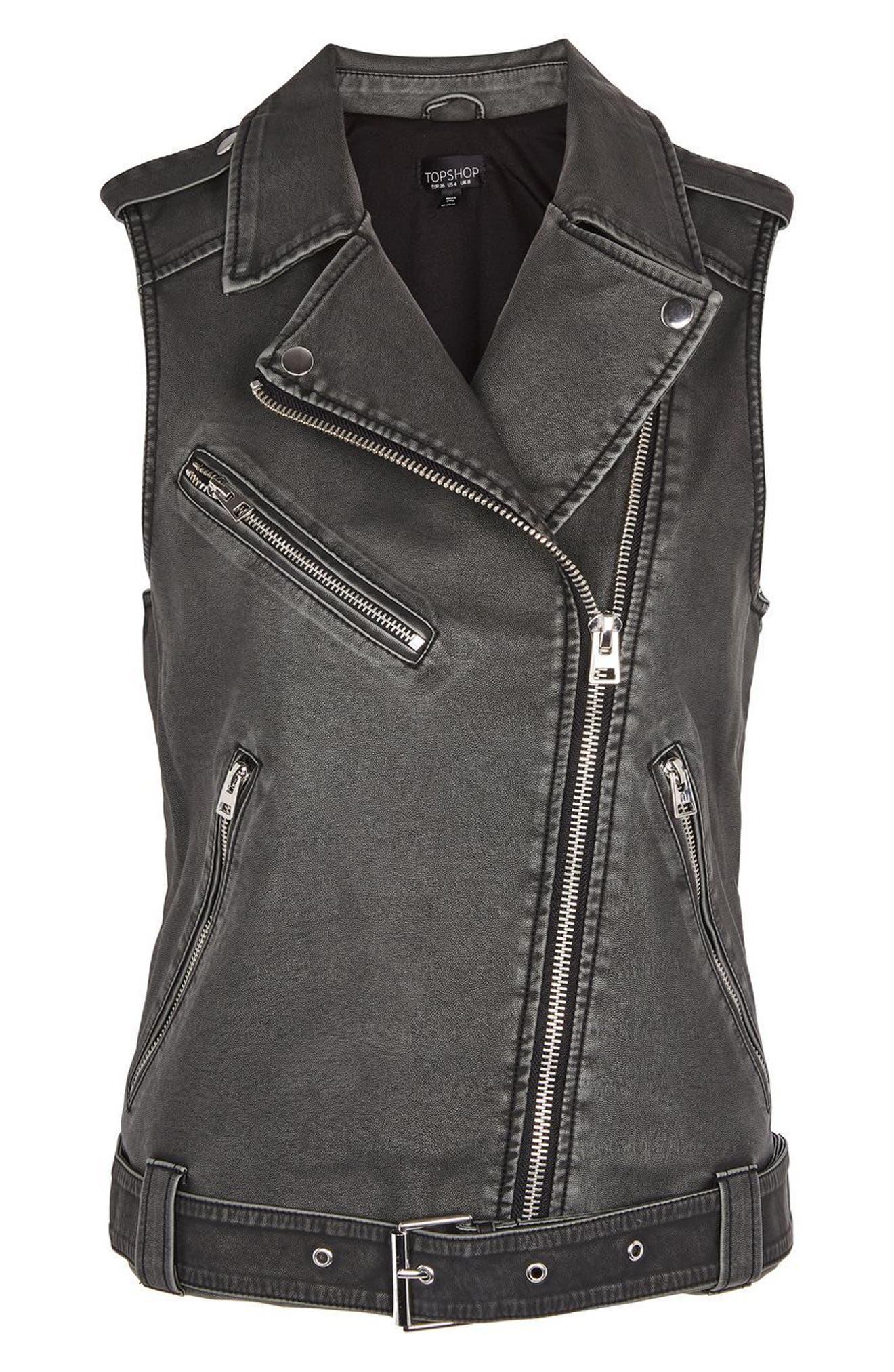Blaze Faux Leather Biker Vest,                             Alternate thumbnail 3, color,                             Washed Black