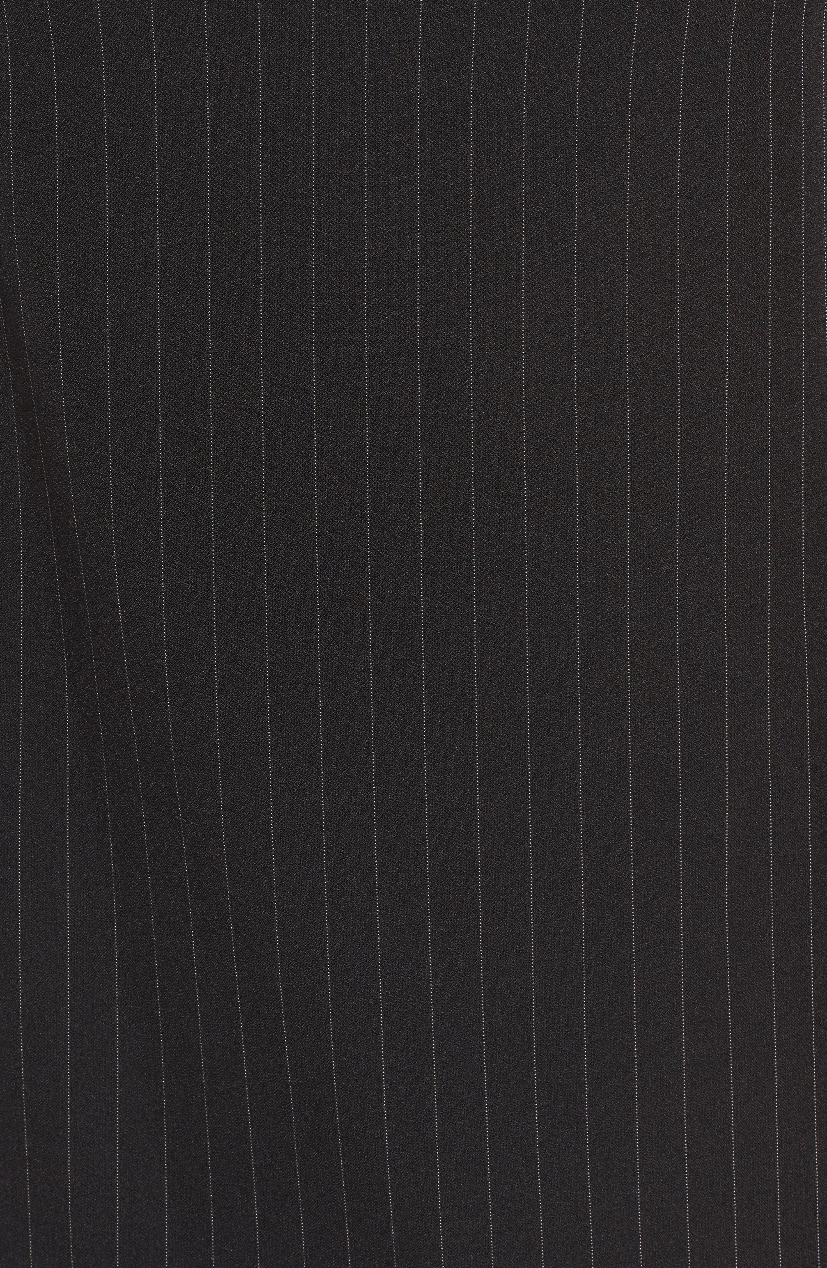 Pinstripe Shift Dress,                             Alternate thumbnail 5, color,                             Black/ White