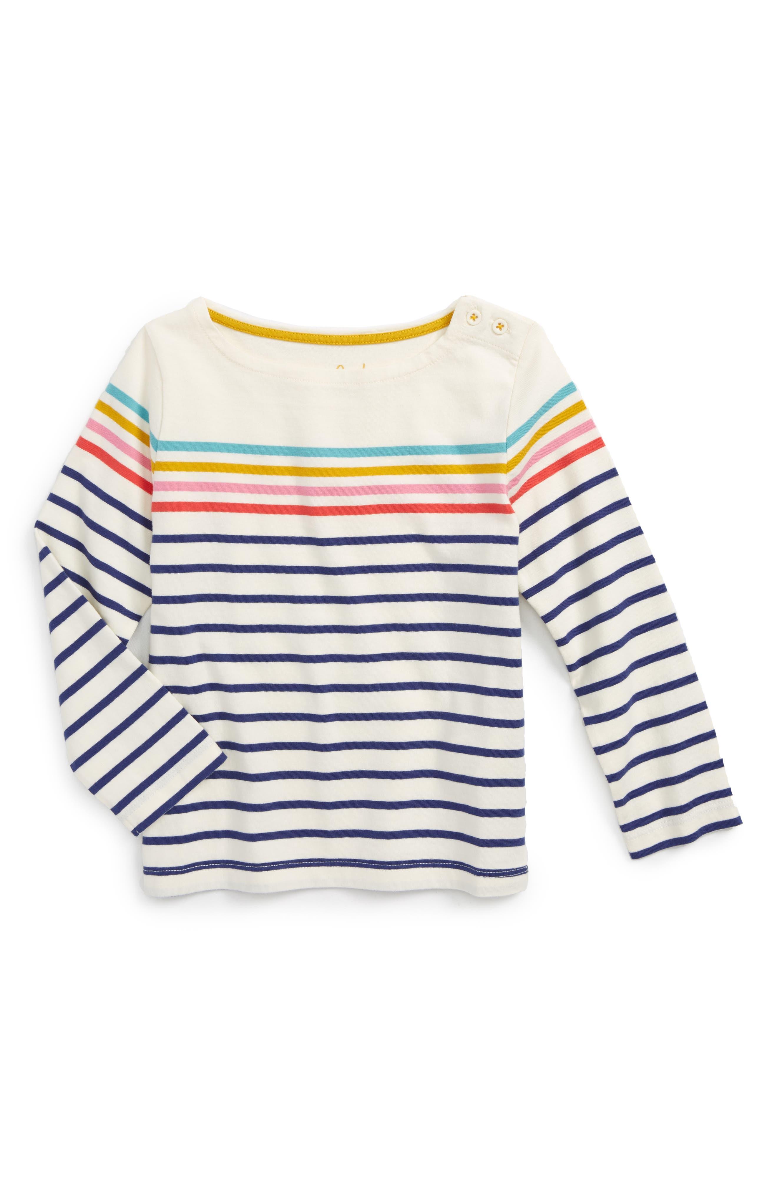 Colourfully Stripy Tee,                             Main thumbnail 1, color,                             Navy/ Ecru Rainbow