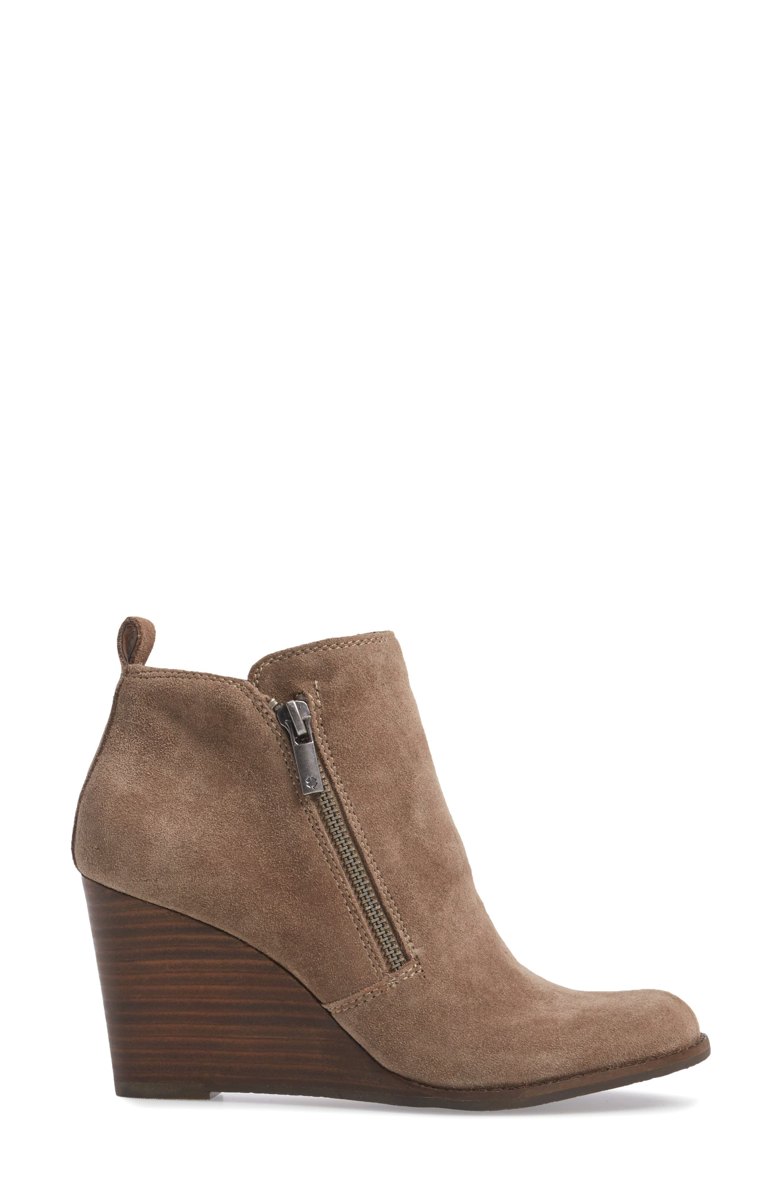Yesterr Wedge Bootie,                             Alternate thumbnail 3, color,                             Brindle Suede