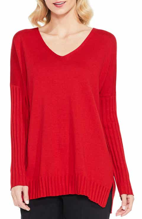 Vince Camuto Ribbed Sleeve Sweater