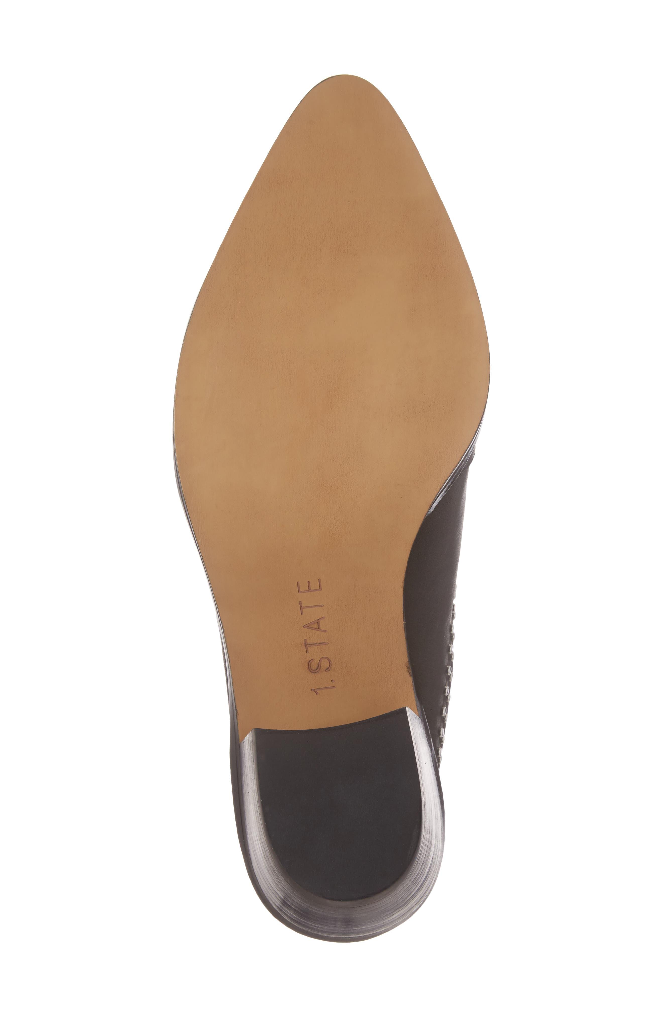 Lon Studded Loafer Mule,                             Alternate thumbnail 6, color,                             Black Leather