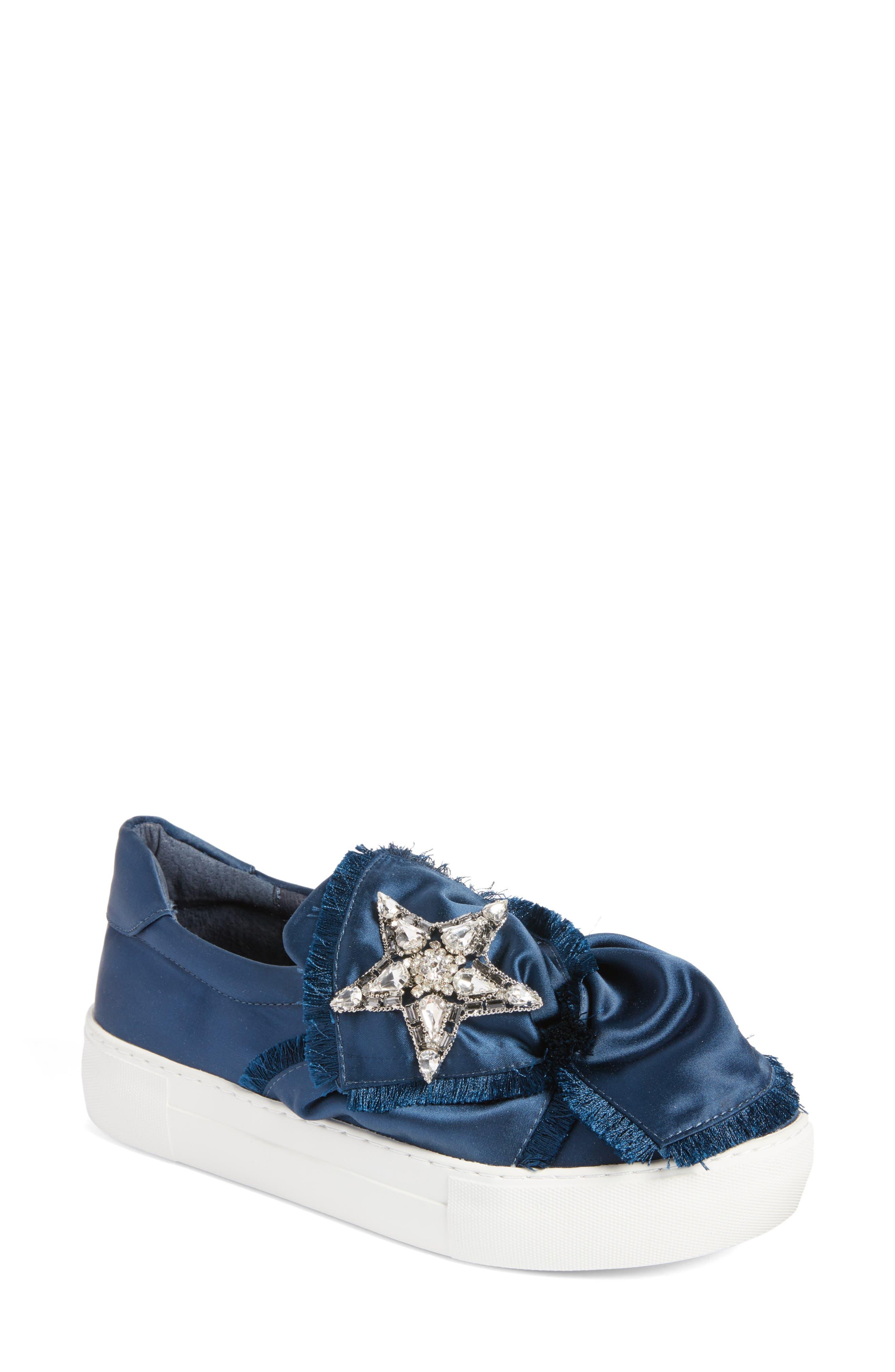 Astor Slip-On Sneaker,                         Main,                         color, Navy Satin